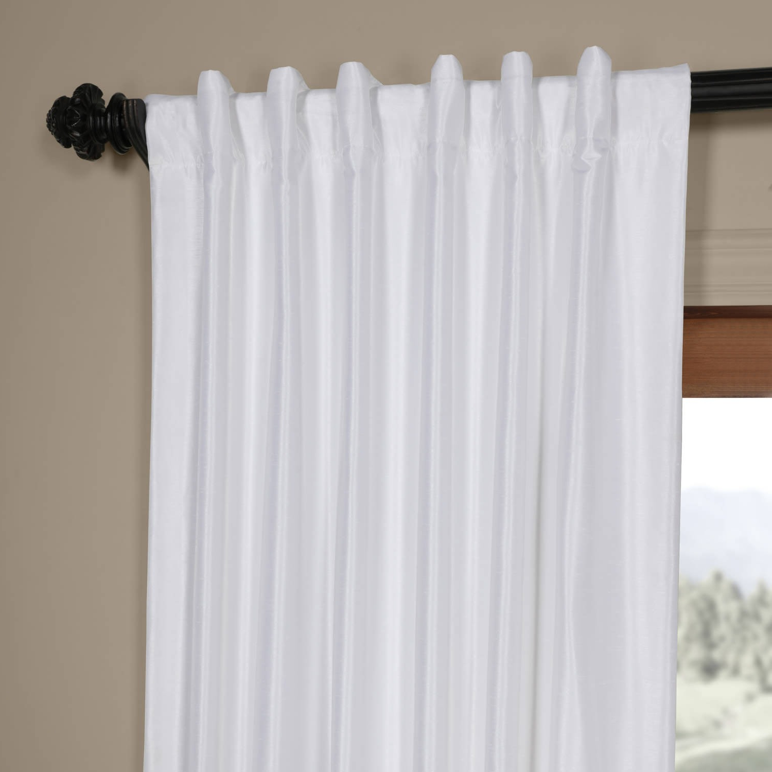 Current Ice White Vintage Faux Textured Dupioni Silk 108L Curtain Panel Within Ice White Vintage Faux Textured Silk Curtain Panels (View 5 of 20)