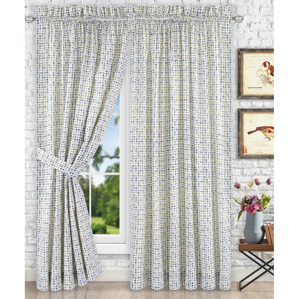 Current Ikat Blue Printed Cotton Curtain Panels Pertaining To Davins Blue Cotton Twill Tailored Pair Curtains With Ties – 90 In. W X 84 In (View 20 of 20)