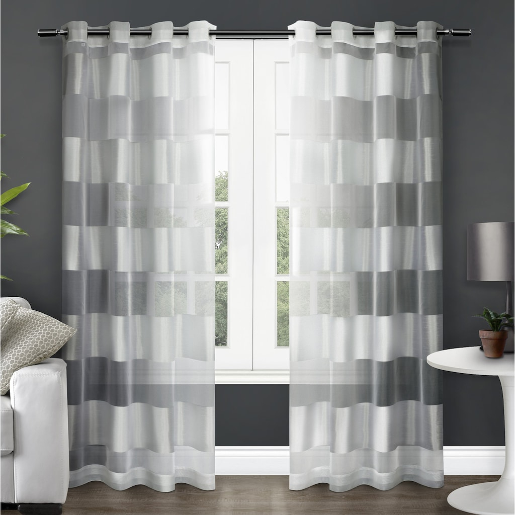 Current Keyes Blackout Single Curtain Panels Pertaining To Exclusive Home 2 Pack Navaro Striped Sheer Window Curtains (View 11 of 20)