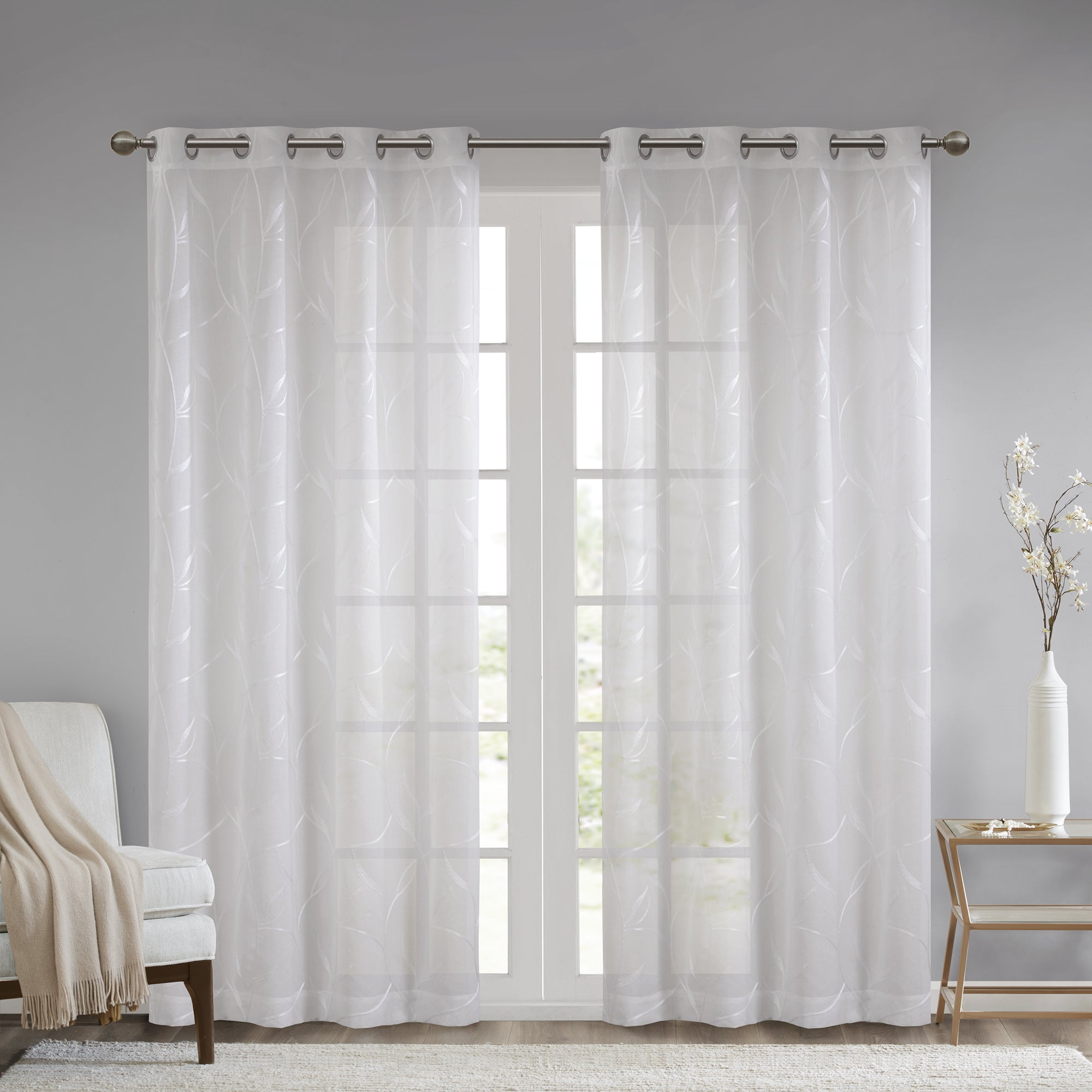Current Madison Park Dawn Leaf Embroidered Sheer Single Curtain Panel Throughout Kida Embroidered Sheer Curtain Panels (View 7 of 20)