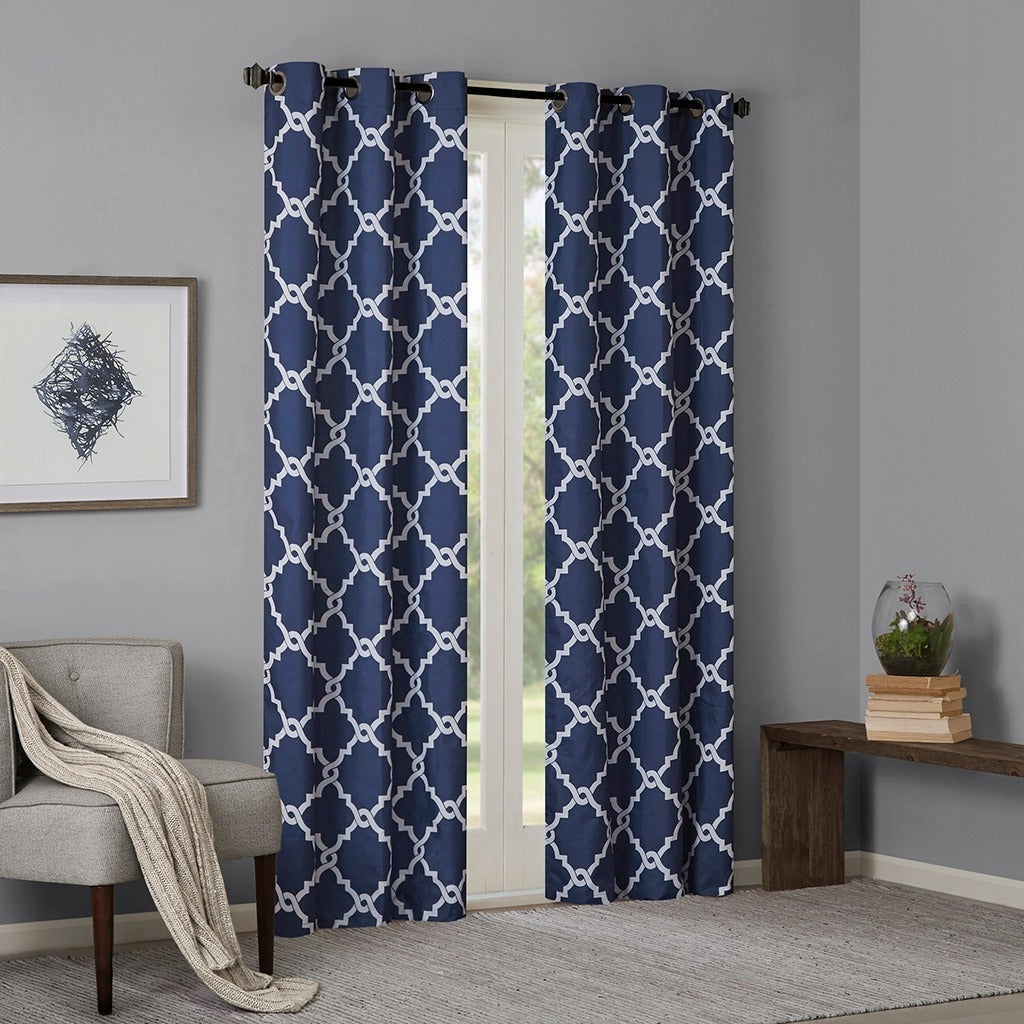 Current Madison Park Essentials Almaden Fretwork Printed Grommet Top Curtain Panel Pair With Regard To Essentials Almaden Fretwork Printed Grommet Top Curtain Panel Pairs (View 3 of 20)