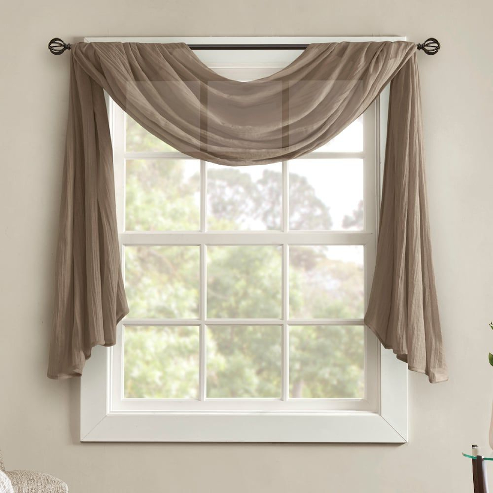 Current Madison Park Kaylee Solid Crushed Sheer Scarf Window Valance Throughout Kaylee Solid Crushed Sheer Window Curtain Pairs (View 8 of 20)