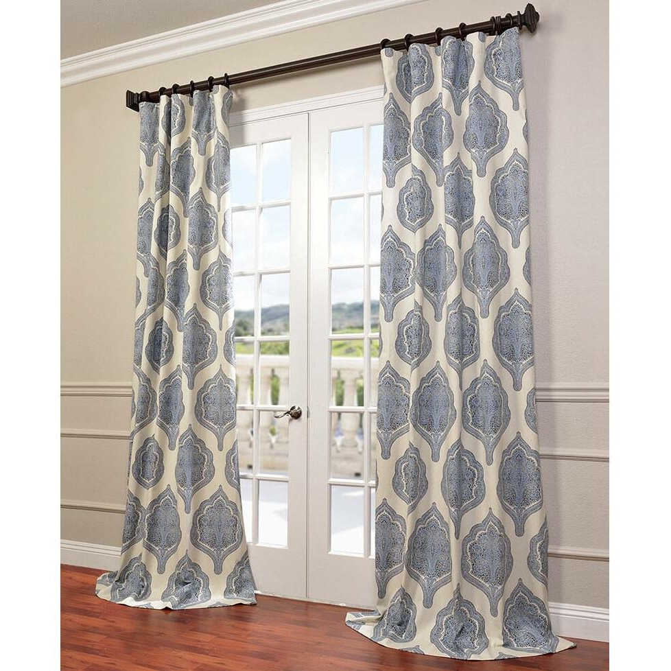 Current Mecca Printed Cotton Single Curtain Panels Throughout Lark Manor Lunaire Printed Cotton Twill Damask Single Curtain Panel (View 21 of 21)