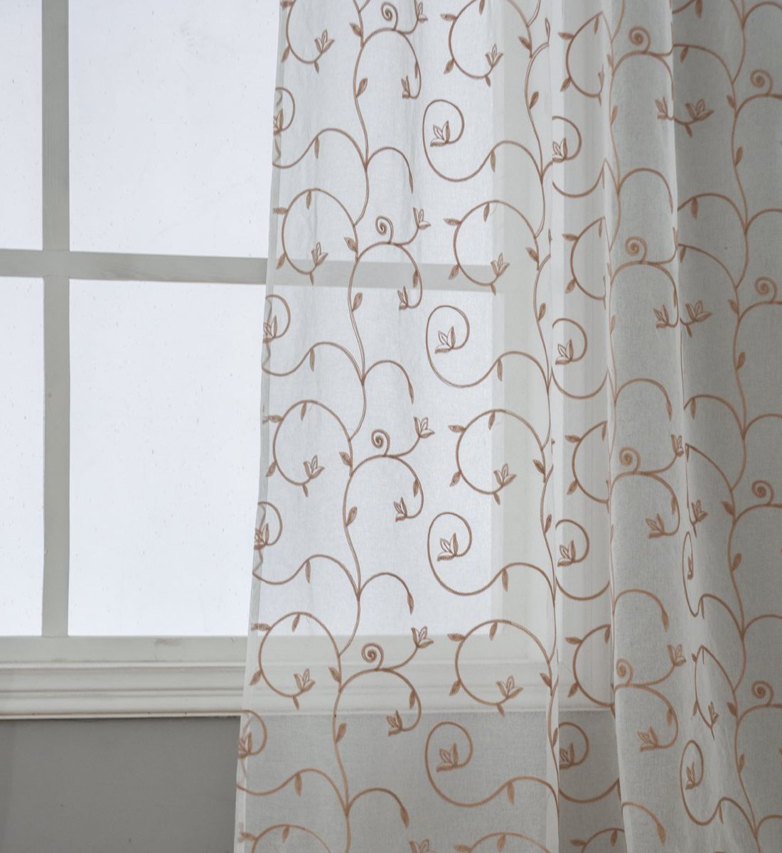 Current Overseas Leaf Swirl Embroidered Curtain Panel Pairs In Kotile Sheer Curtains For Living Room Curtain, Floral Embroidered 2 Panels  Grommet Light Filtering Window Curtains For Sliding Glass Door Curtains,  (View 5 of 21)