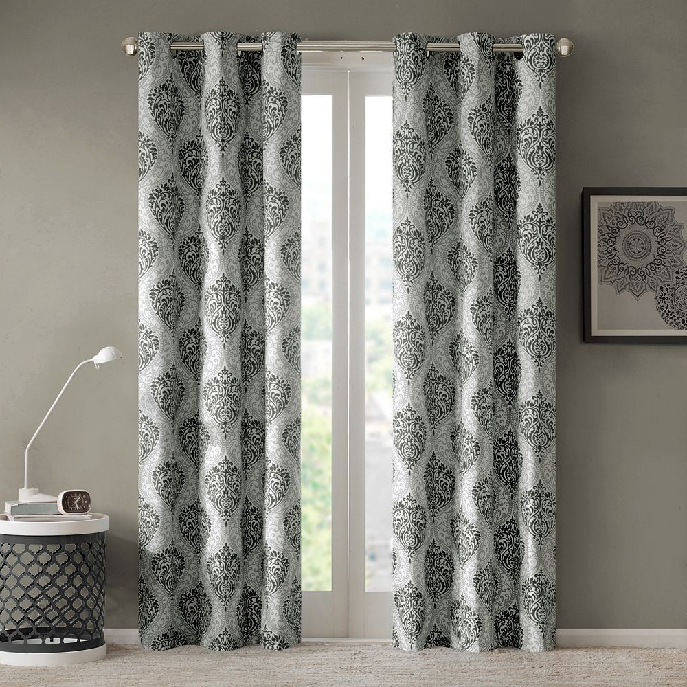 Current Pastel Damask Printed Room Darkening Grommet Window Curtain Panel Pairs In Intelligent Design 2 Pack Lilly Damask Printed Window (View 8 of 20)