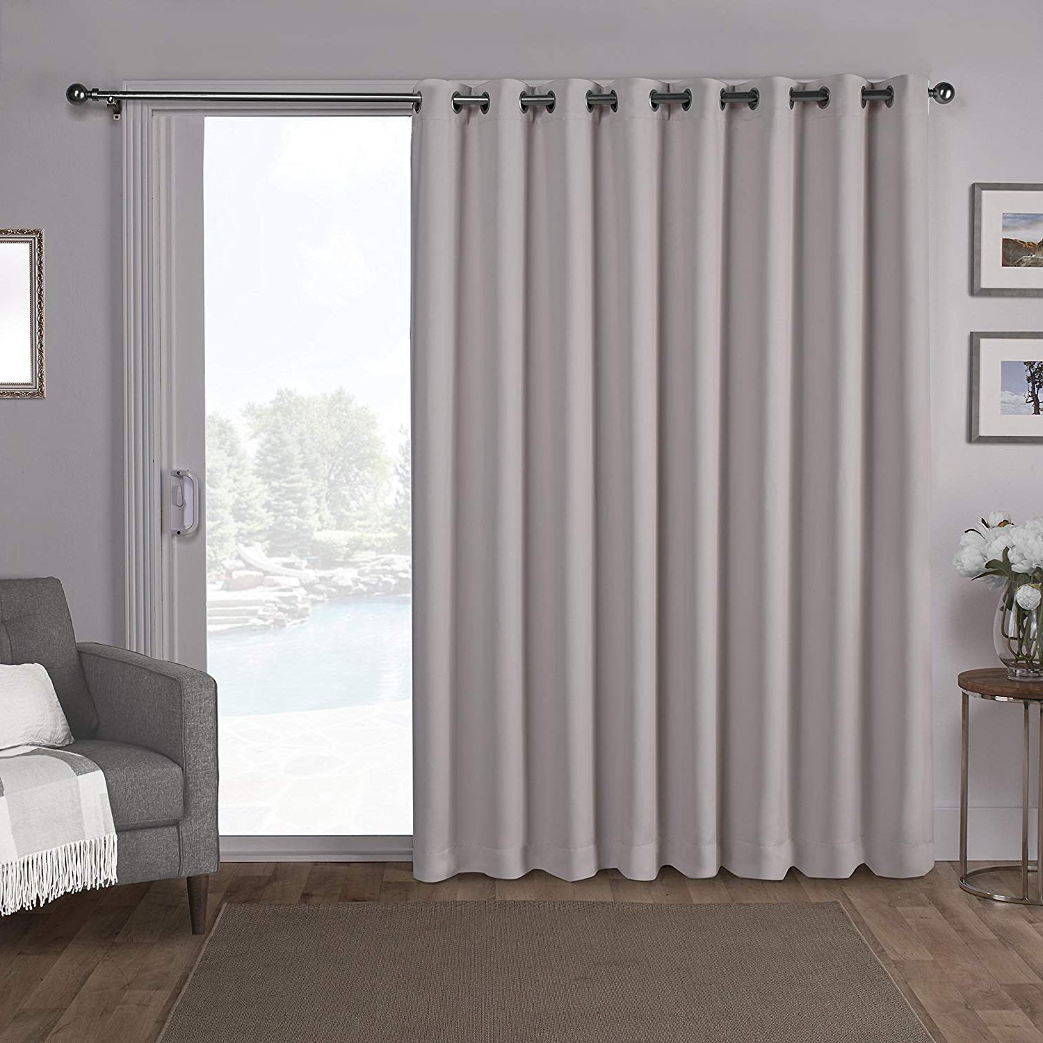 Current Patio Grommet Top Single Curtain Panels Within Exclusive Home Sateen Patio Woven Blackout Grommet Top Single Curtain Panel, Silver, 100x (View 17 of 20)