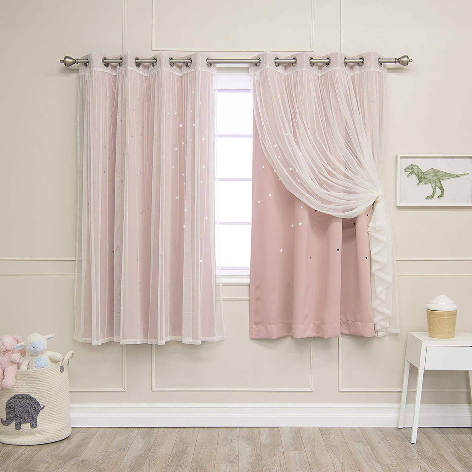 "Current Star Punch Tulle Overlay Blackout Curtain Panel Pairs Inside Best Home Fashion Mix & Match Tulle & Star Cut Out Blackout Curtains – Dustypink – 52""w X 63""l – (2 Curtains And 2 Sheer Curtains) (View 18 of 20)"