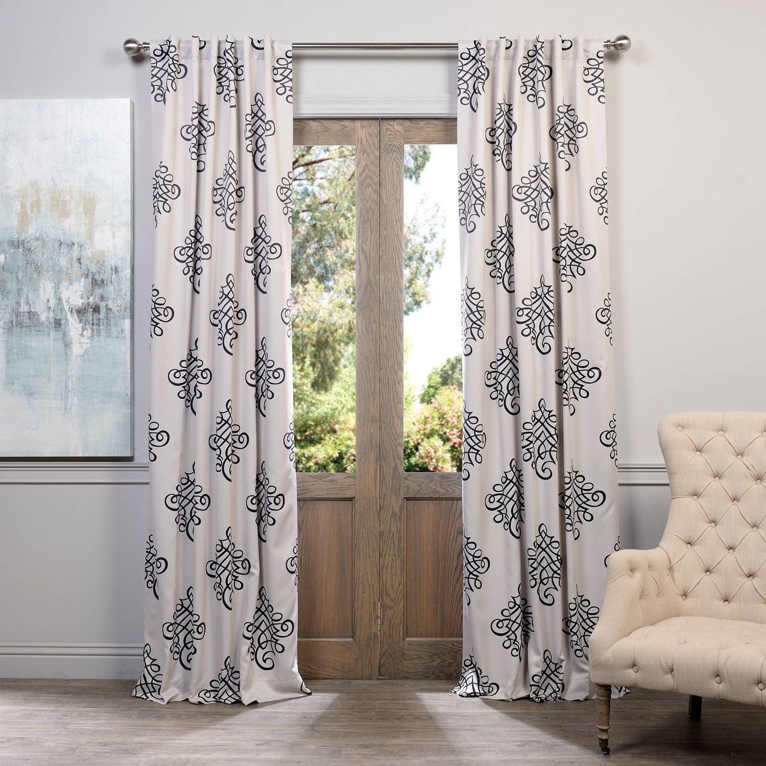 Current Tugra Damask Blackout Thermal Rod Pocket Single Curtain For Sarong Grey Printed Cotton Pole Pocket Single Curtain Panels (View 14 of 20)