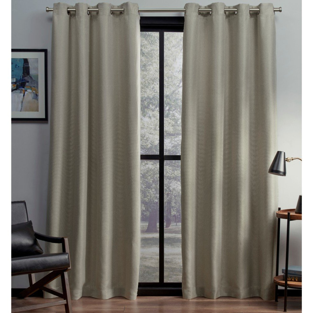 Current Woven Blackout Curtain Panel Pairs With Grommet Top Within Exclusive Home Curtains Eglinton Woven Blackout Window Curtain Panel Pair With Grommet Top, 52X84, Linen, 2 Piece (View 5 of 20)