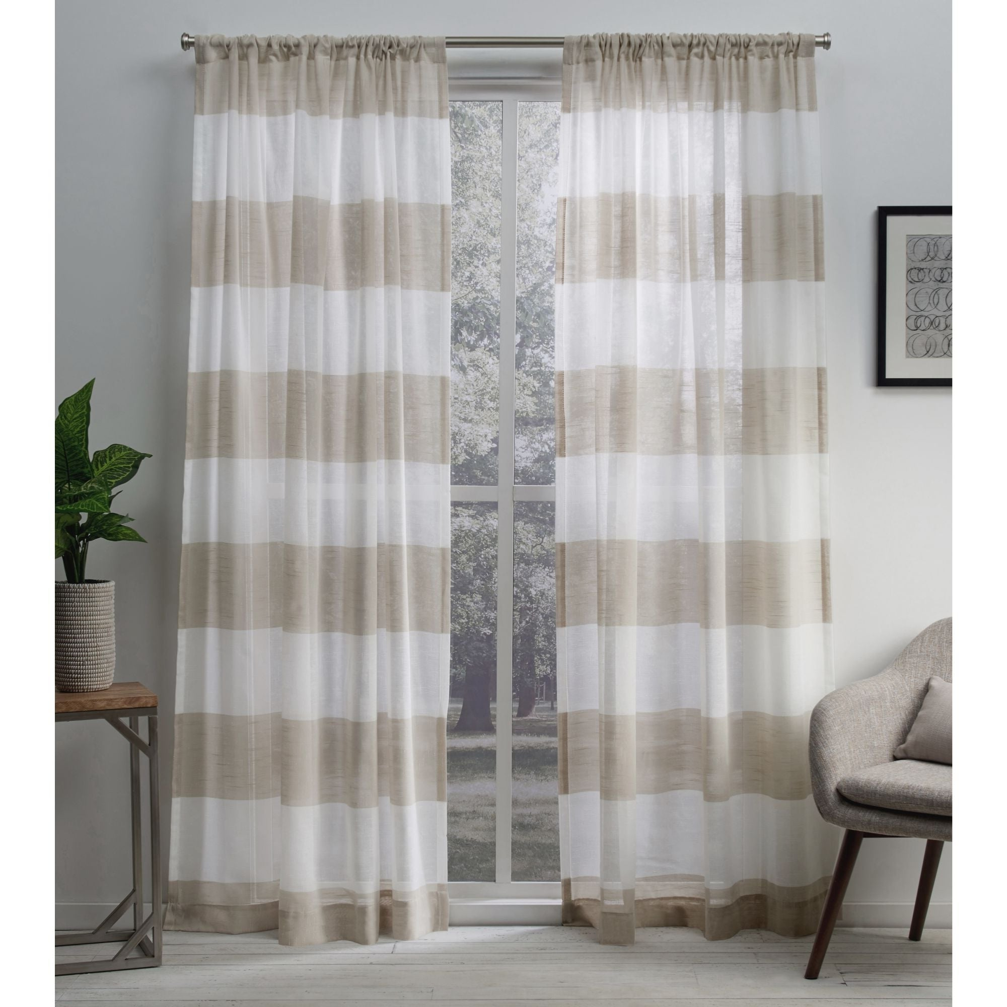 Curtain Panel Pairs With Widely Used Porch & Den Ocean Sheer Linen Curtain Panel Pair With Rod Pocket (View 5 of 20)