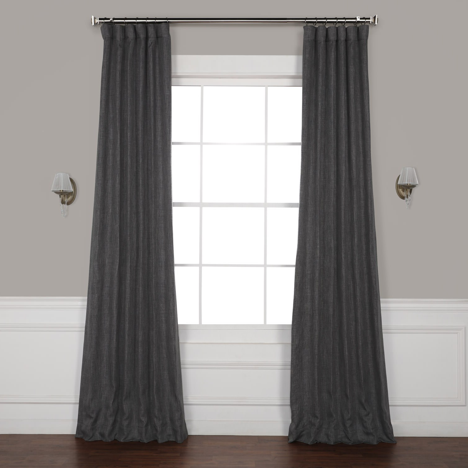 Dark Gravel Faux Linen Blackout Curtain Within Well Known Faux Linen Blackout Curtains (View 2 of 20)
