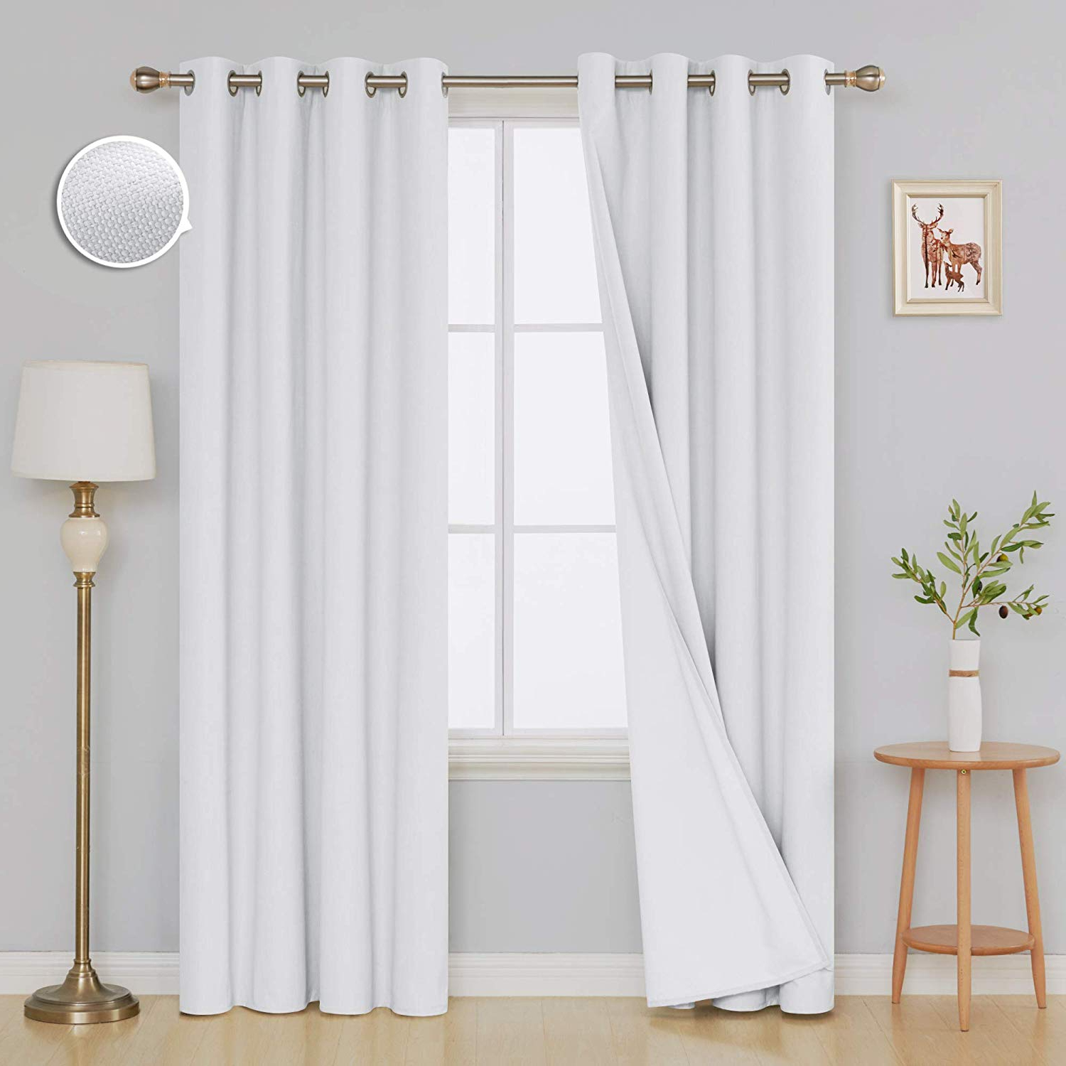 Deconovo Pure White Full Blackout Curtains Pair Thermal Insulated Blackout Curtain Panels With White Coating Layer For Bedroom 52w X 95l Inch Pure With Regard To Fashionable Thermal Insulated Blackout Curtain Pairs (View 4 of 20)