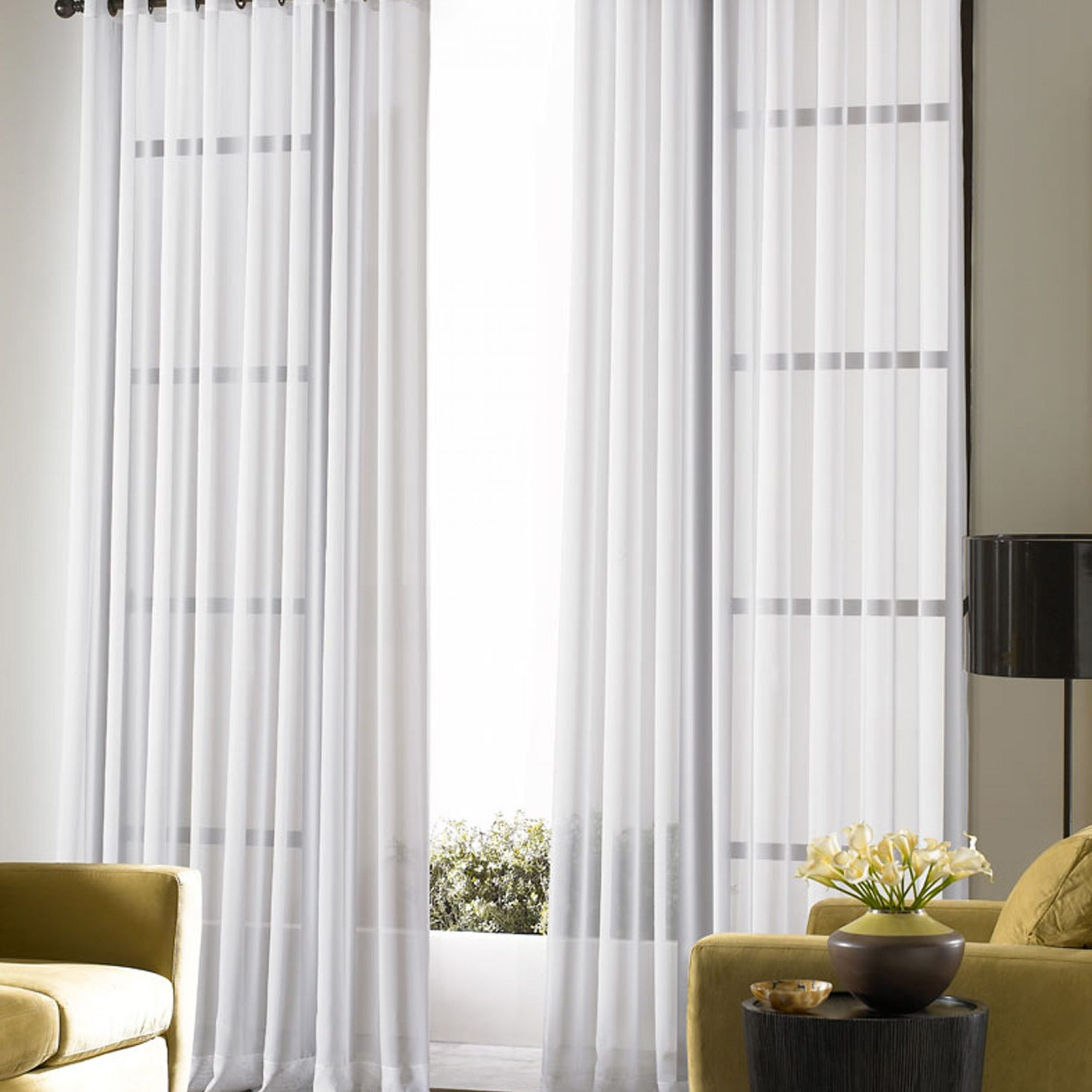 Decorating Bedroom Voile Lightweight Sheer Grommet Curtain Throughout 2020 Kaylee Solid Crushed Sheer Window Curtain Pairs (View 9 of 20)