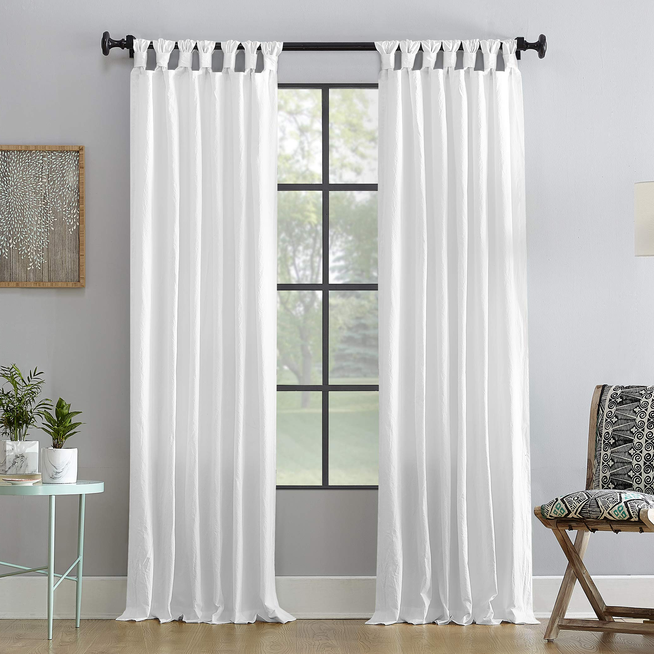"[%Details About Archaeo Washed 100% Cotton Twist Tab Curtain 52"" X 63"" White In Well Known Archaeo Slub Textured Linen Blend Grommet Top Curtains