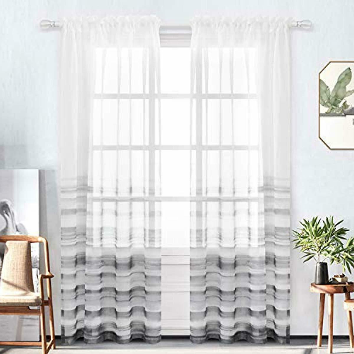 Details About Bermino Faux Linen Sheer Curtains Voile Rod Pocket Ombre Semi  Sheer Curtains For Inside Most Recently Released Ombre Faux Linen Semi Sheer Curtains (View 6 of 20)