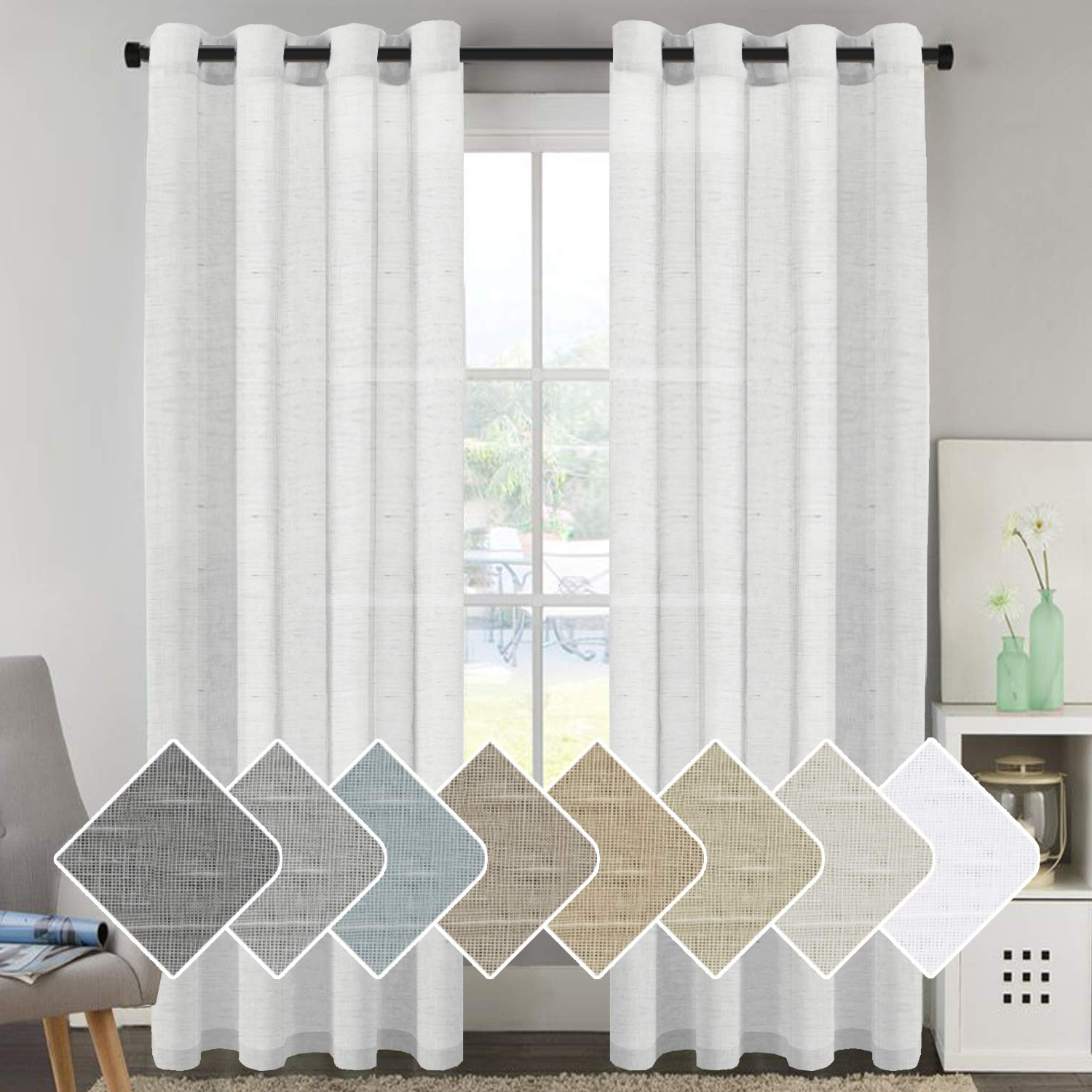 Details About Home Living Room 52 X 96 Premium Luxury Window Sheer Curtain Set, White Pertaining To Best And Newest Elegant Comfort Window Sheer Curtain Panel Pairs (View 16 of 20)