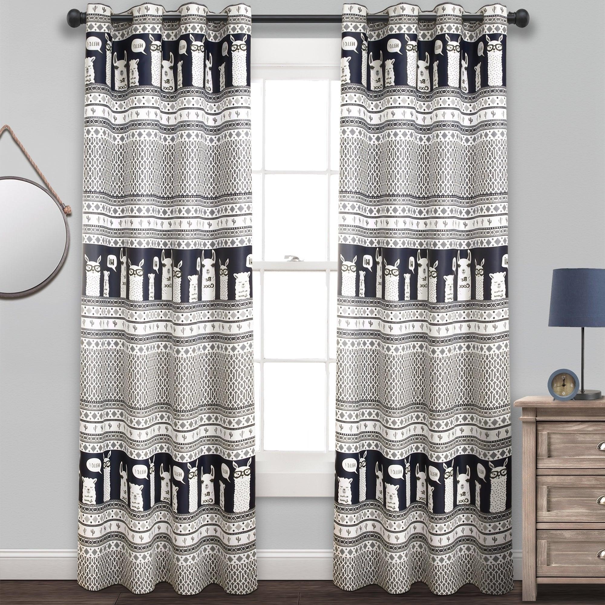 Details About Lush Decor Llama Stripe Room Darkening Window Curtain Panel Pertaining To Preferred Julia Striped Room Darkening Window Curtain Panel Pairs (View 10 of 20)