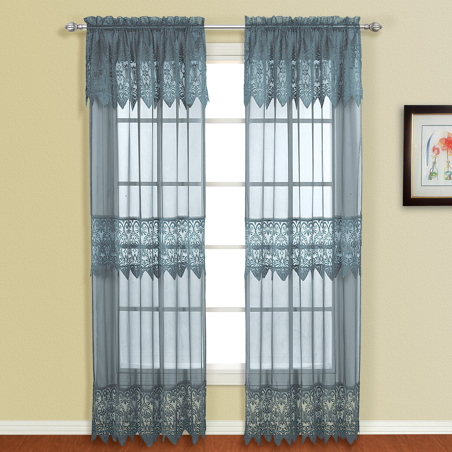 Details About Luxury Collection Valerie Semi Sheer Curtain Panel Pair Throughout Preferred Luxury Collection Venetian Sheer Curtain Panel Pairs (View 5 of 20)