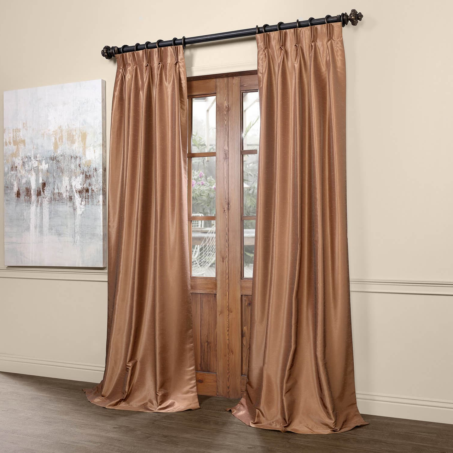 Details About Pleated Vintage Textured Faux Dupioni Silk Bl For 2020 Vintage Textured Faux Dupioni Silk Curtain Panels (View 9 of 20)