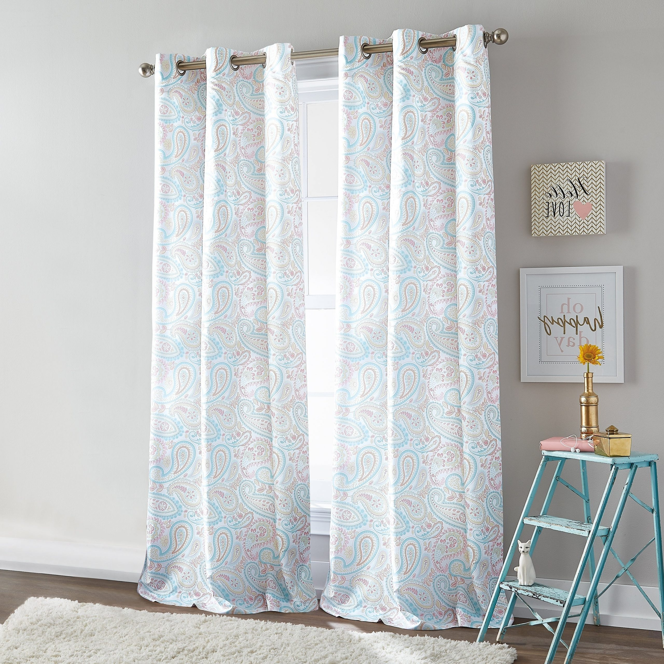 Details About Ryder Paisley Room Darkening Grommet Curtain Panel Pair Intended For Well Liked Kaiden Geometric Room Darkening Window Curtains (View 14 of 20)