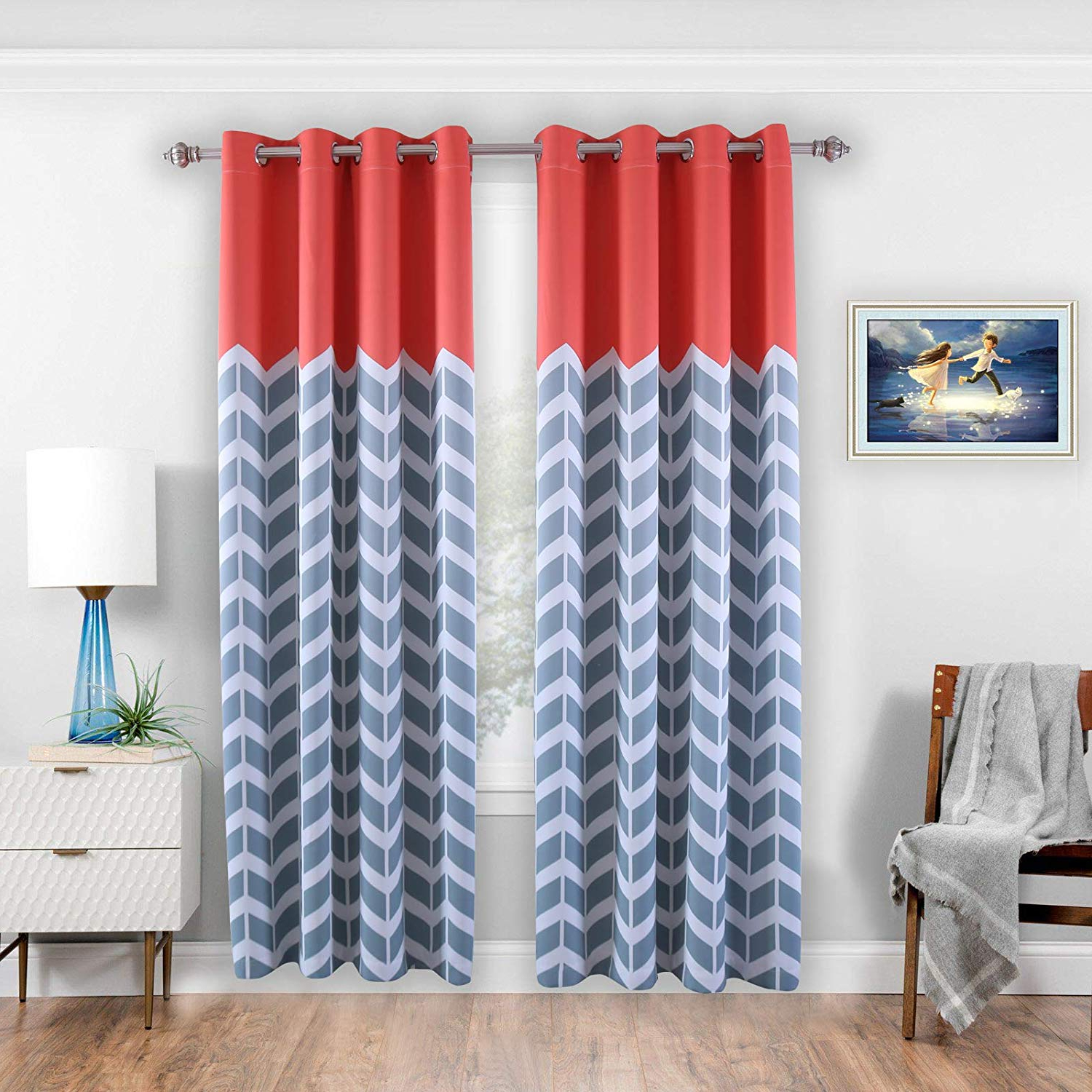 """Donren Chevron Pattern Thermal Insulated Blackout Curtains (2 Panels)  Grommet Window Curtain Panel Pair For Living Room, Coral 52"""" Width X 84""""  Length Regarding Newest Thermal Insulated Blackout Curtain Panel Pairs (View 4 of 20)"""