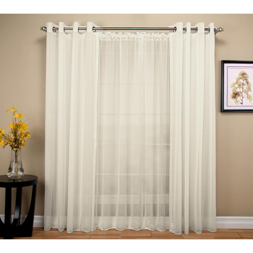 Double Layer Sheer White Single Curtain Panels For Famous Ricardo Trading Tergaline 108 In. W X 63 In (View 5 of 20)