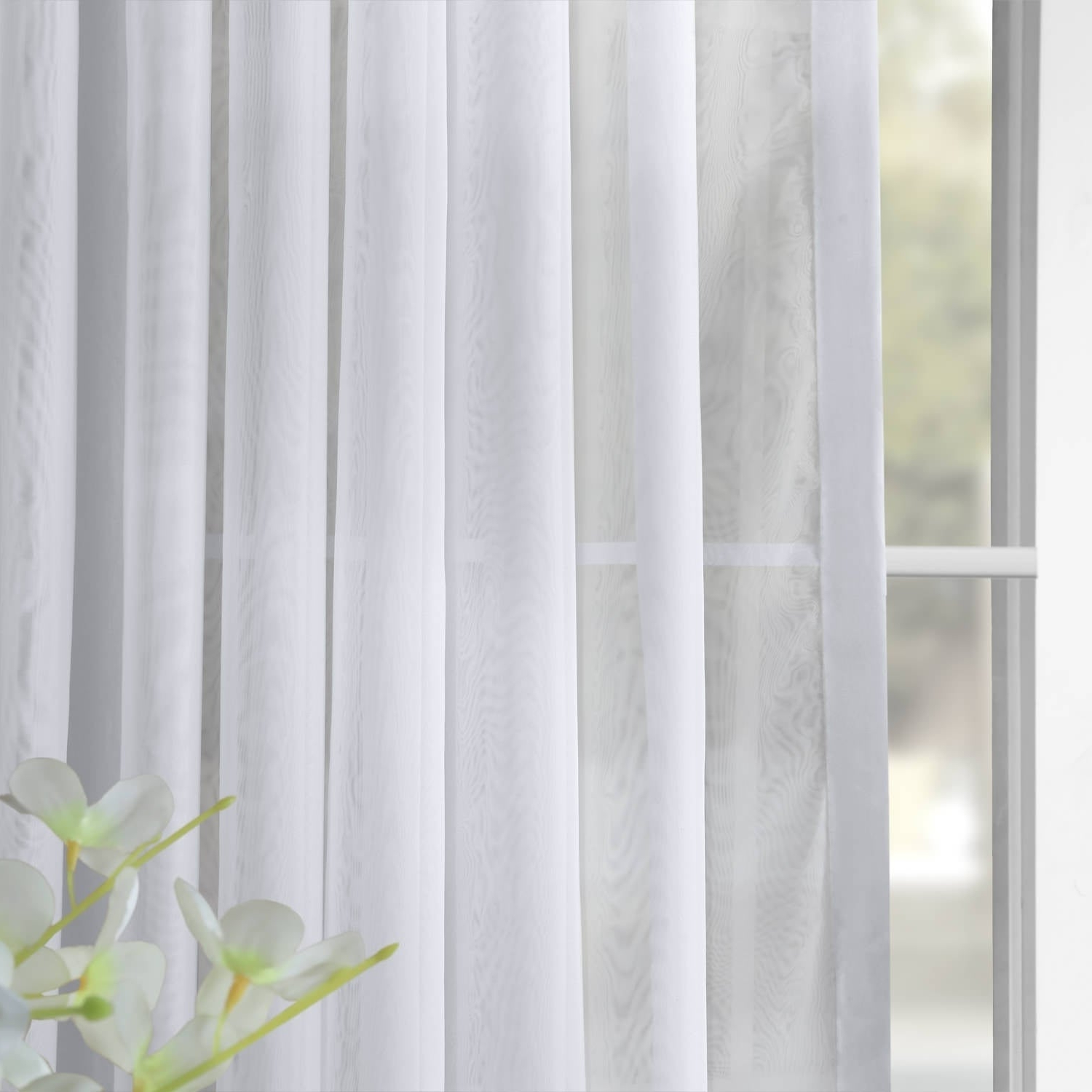 Double Layer Sheer White Single Curtain Panels Pertaining To Famous Exclusive Fabrics Double Layer Sheer White Single Curtain Panel (View 7 of 20)