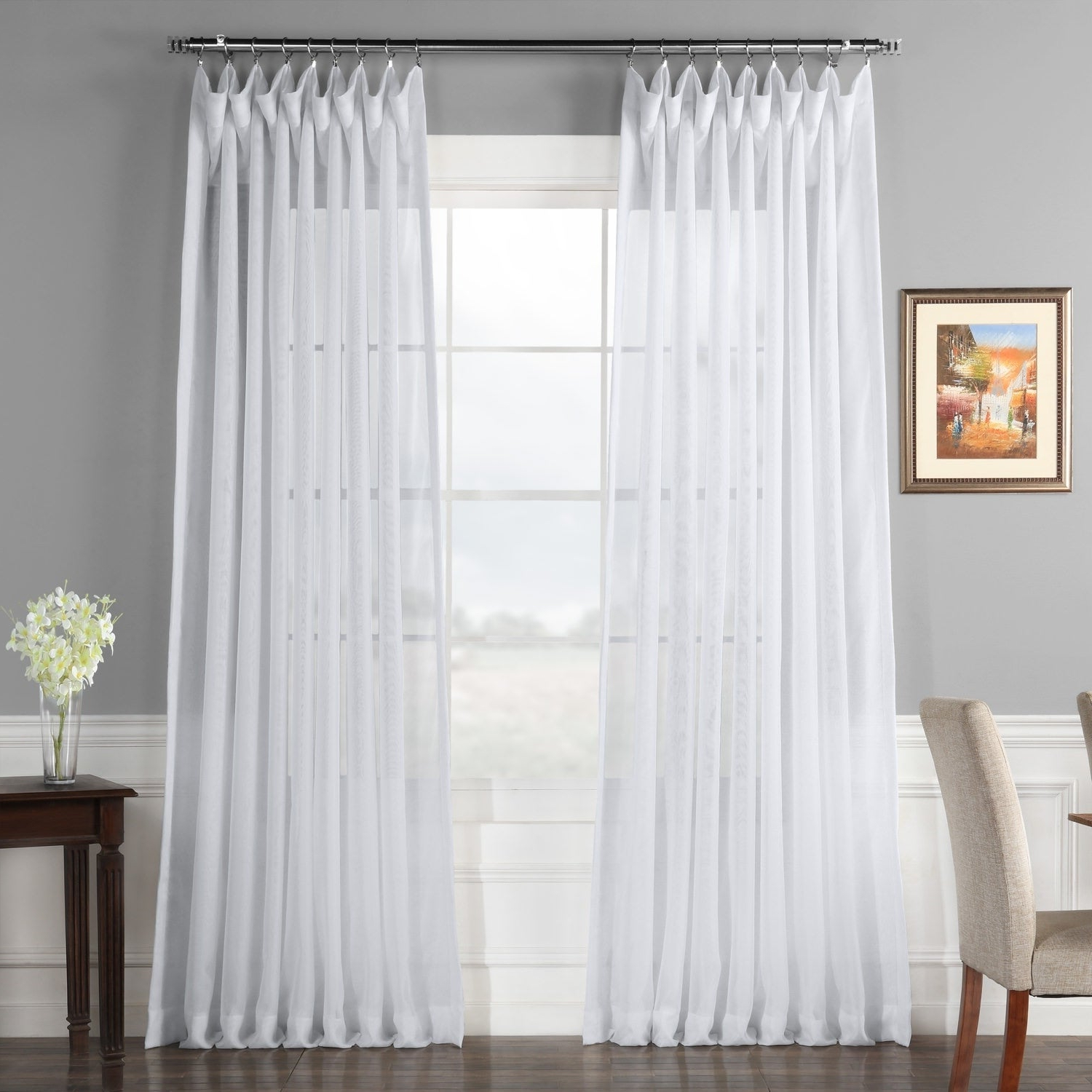 Featured Photo of Double Layer Sheer White Single Curtain Panels