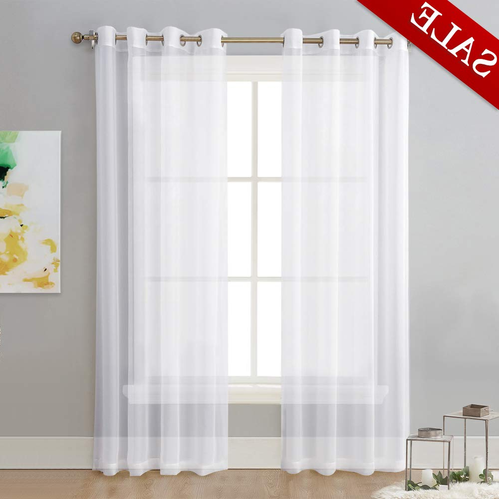 Double Layer Sheer White Single Curtain Panels Regarding 2020 Nicetown Sheer Curtain Panels Bedroom – Home Decoration Solid Voile Panels  With Ring Top (2 Pack, 54 Wide X 84 Inches Long, White) (View 9 of 20)