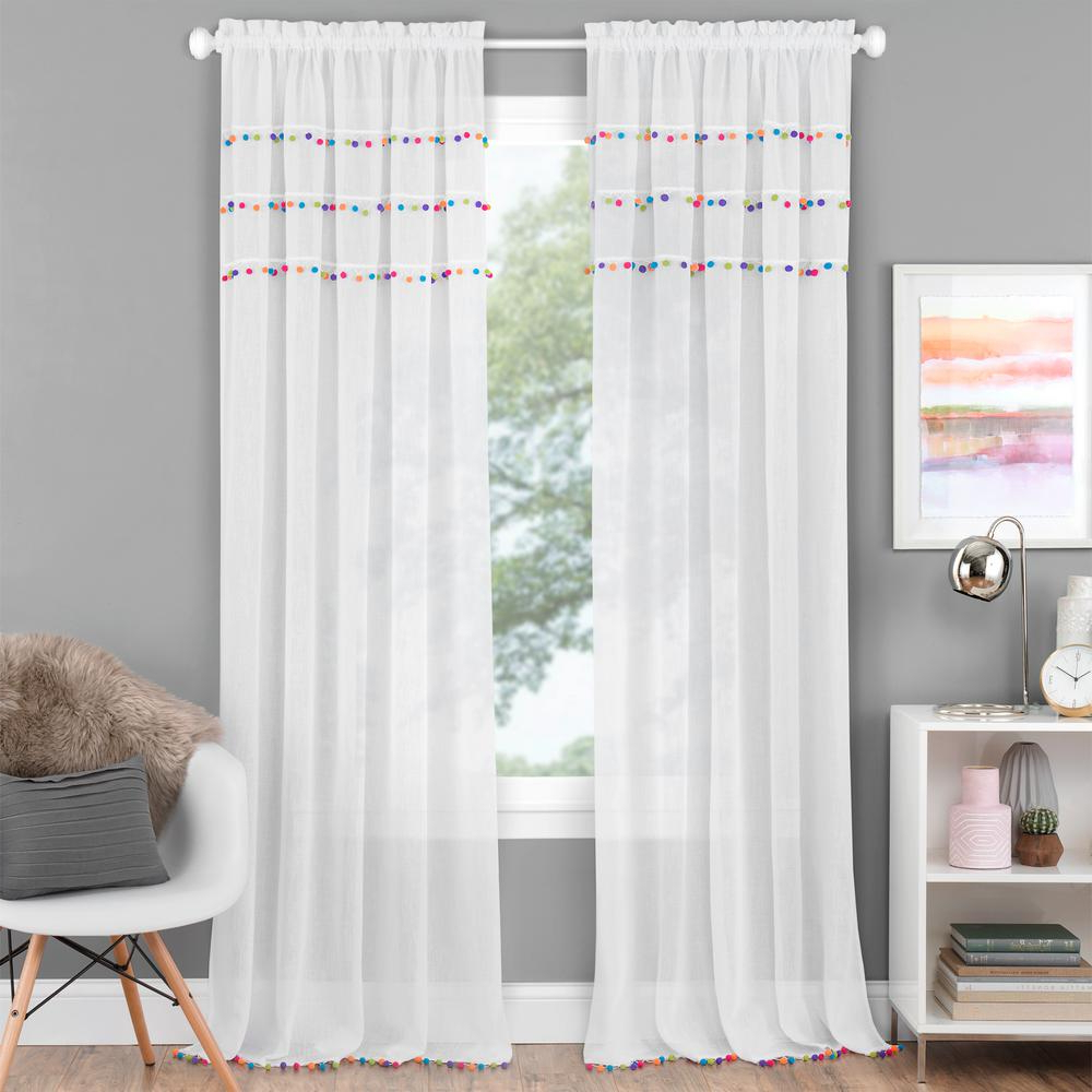 Double Layer Sheer White Single Curtain Panels With Regard To Latest Achim Pom Pom White Polyester Rod Pocket Curtain Panel 52 In. W X 63 In (View 11 of 20)