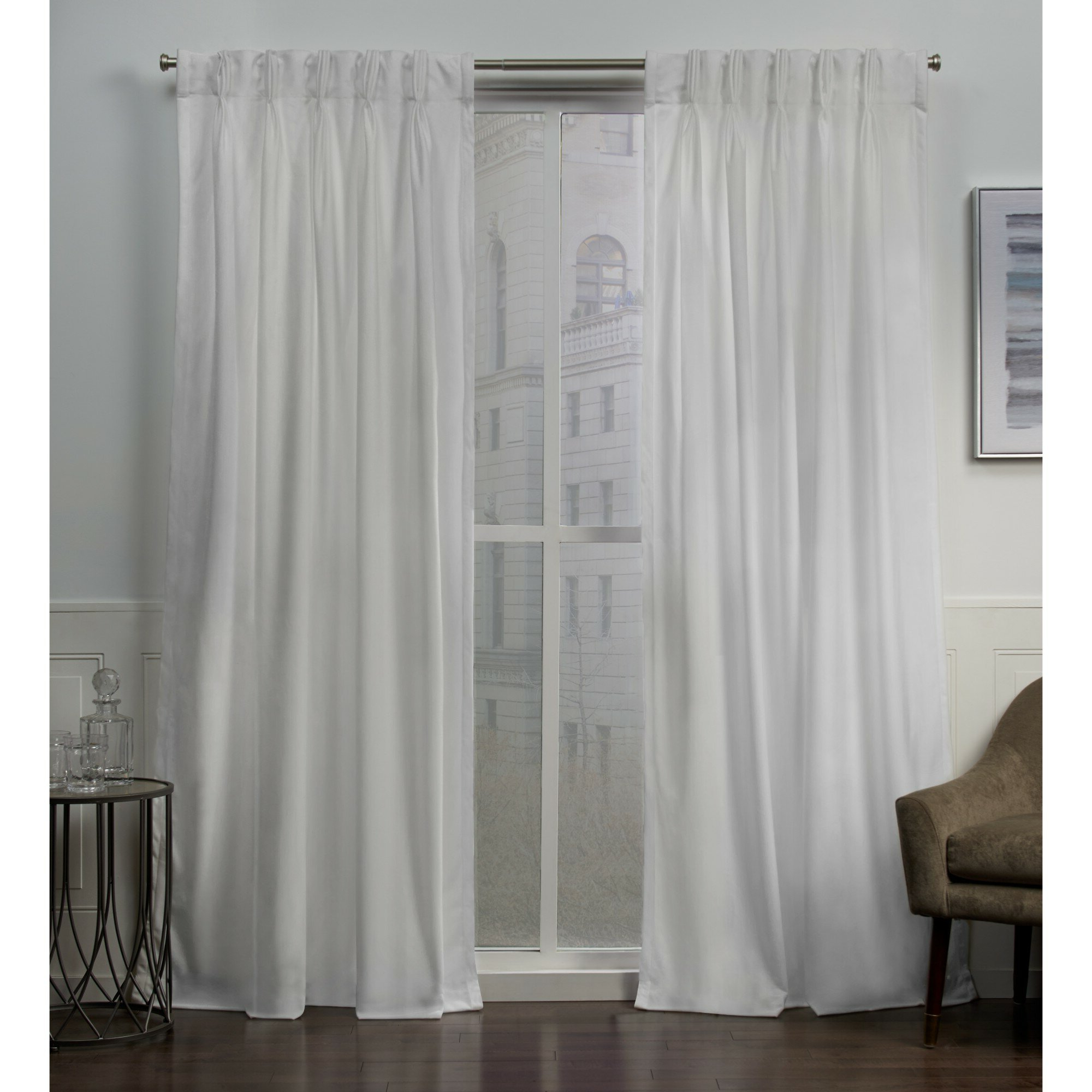 Double Pinch Pleat Top Curtain Panel Pairs Intended For Popular Donna Heavyweight Solid Color Room Darkening Pinch Pleat Panel Pair (View 7 of 20)