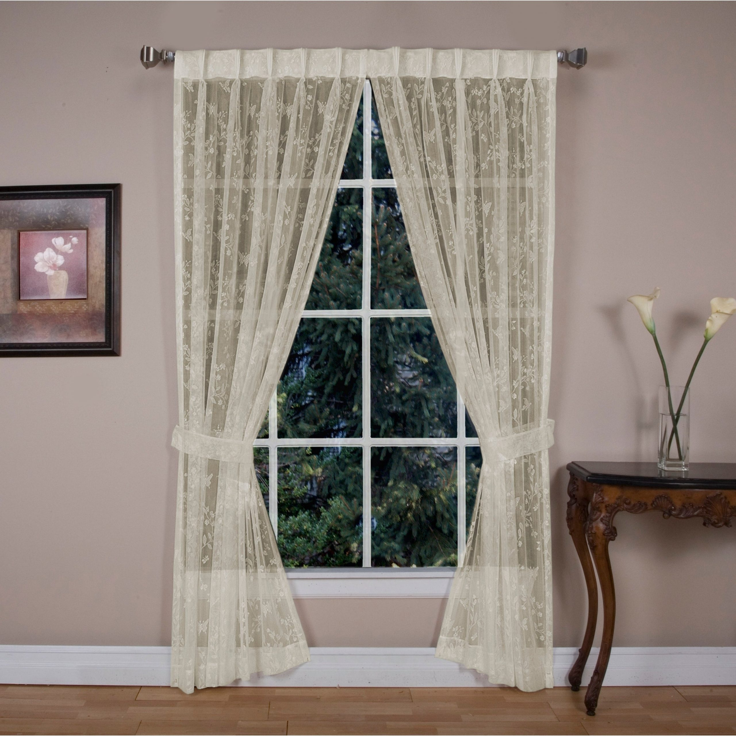 Double Pinch Pleat Top Curtain Panel Pairs Pertaining To Fashionable Isabella Lace Pinch Pleated Top W/back Tabs Curtain Panel Pair (View 9 of 20)