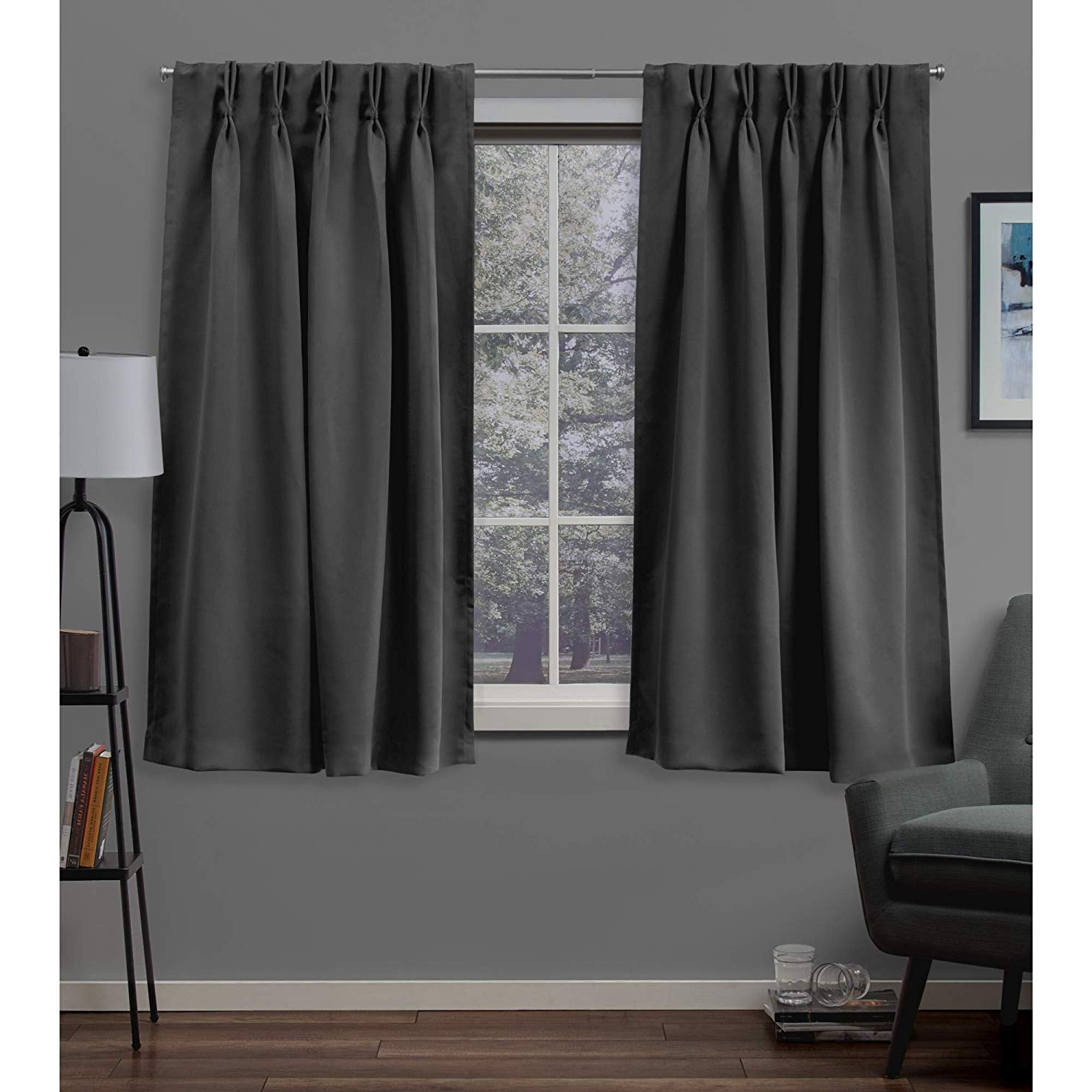 Double Pinch Pleat Top Curtain Panel Pairs With Regard To Well Liked Exclusive Home Sateen Twill Woven Blackout Pinch Pleat Curtain Panel Pair,  Charcoal (View 10 of 20)
