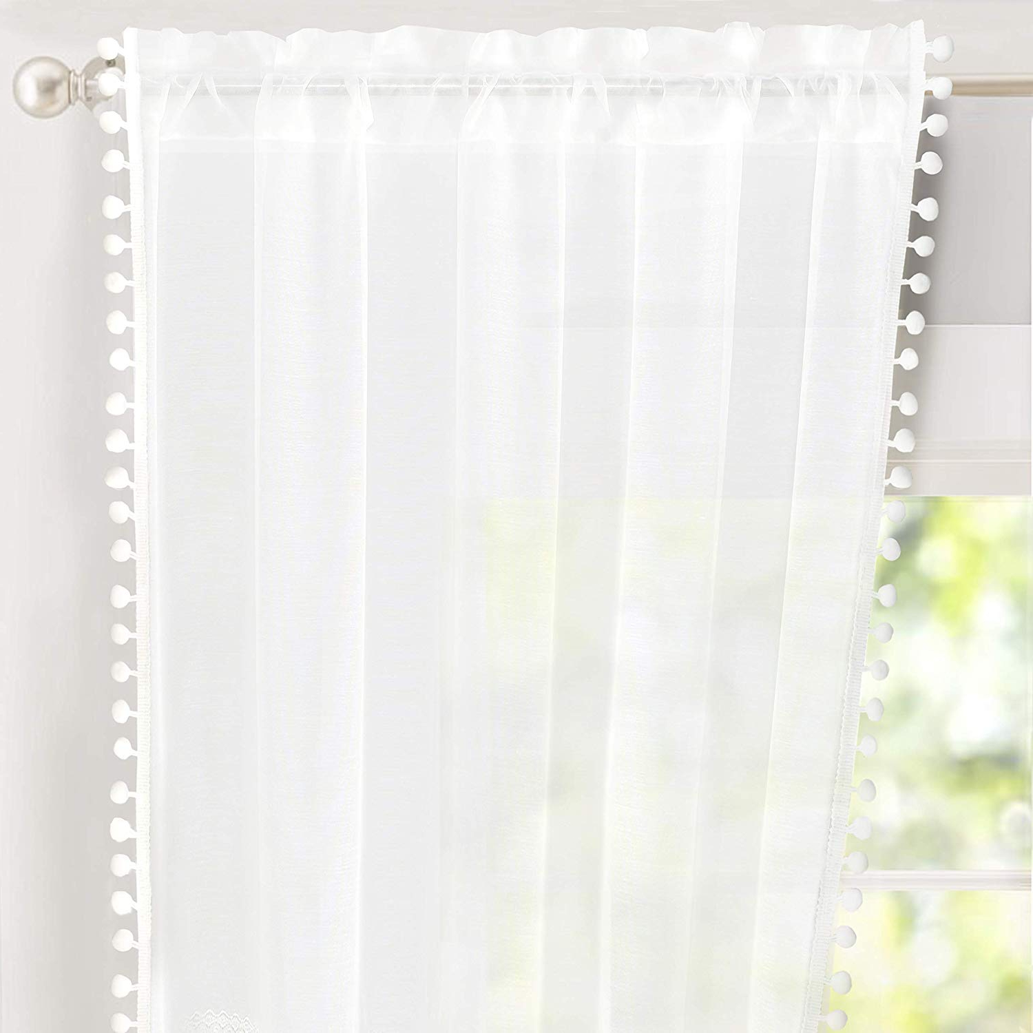 Driftaway Laura Pom Pom Trimmed White Voile Sheer Window Curtains 2 Panels  Rod Pocket Each Size 52 Inch84 Inch Plus 2 Inch Header White With Recent Tassels Applique Sheer Rod Pocket Top Curtain Panel Pairs (View 3 of 20)