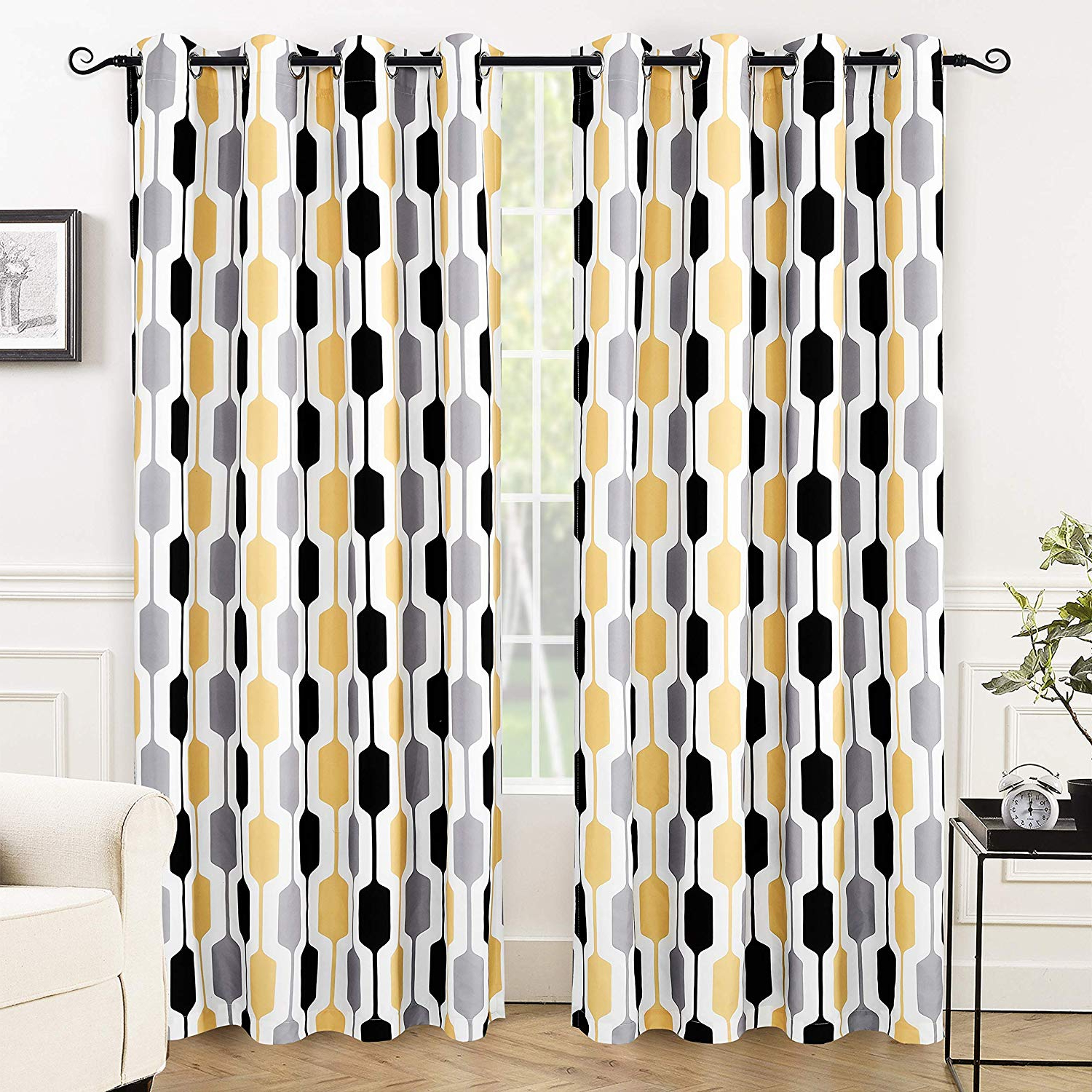 Driftaway Riley Geo Room Darkening Blackout Thermal Insulated Grommet Lined Window Curtains Mid Century Geometric Pattern 2 Layers 2 Panels Each 52 Regarding 2021 Riley Kids Bedroom Blackout Grommet Curtain Panels (View 15 of 20)