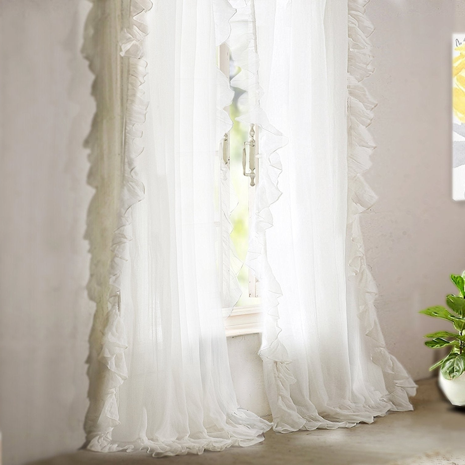 Driftaway Sophie Sheer Voile Ruffle Edge Window Curtain Panel Pair With Best And Newest Sheer Voile Ruffled Tier Window Curtain Panels (View 15 of 20)