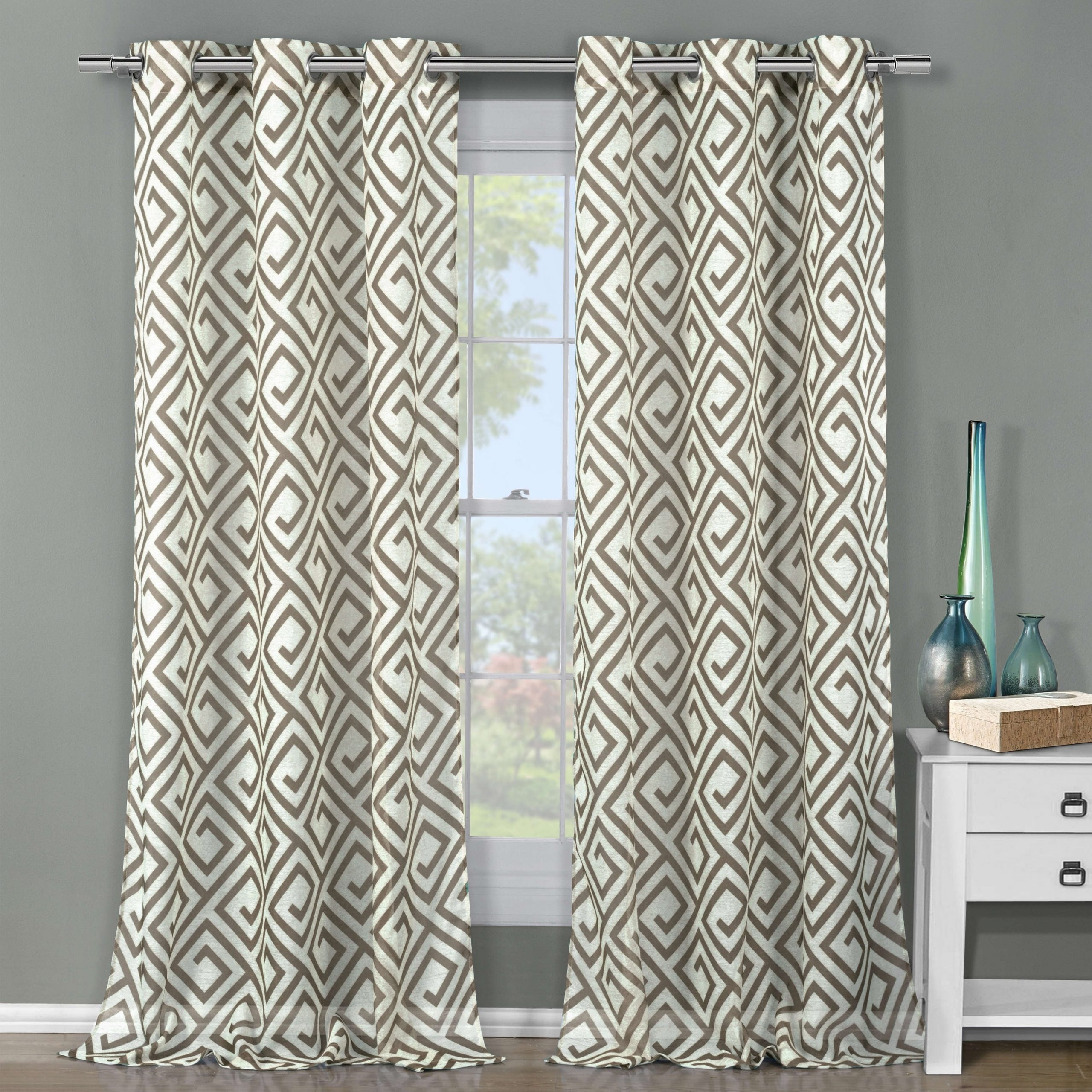 Duck River Anna Sheer 84 Inch Graphic Grommet Curtain Panel Pair – 51X84 For Most Recent The Curated Nomad Duane Jacquard Grommet Top Curtain Panel Pairs (View 20 of 21)