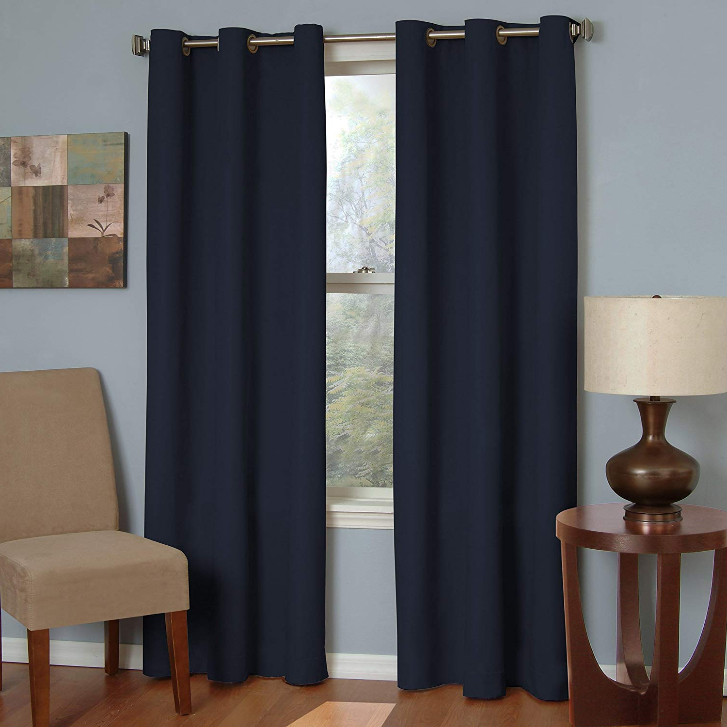 "Eclipse Blackout Curtains For Bedroom – Microfiber 42"" X 63"" Insulated Darkening Single Panel Grommet Top Window Treatment Living Room, Navy For Newest Eclipse Corinne Thermaback Curtain Panels (View 20 of 20)"