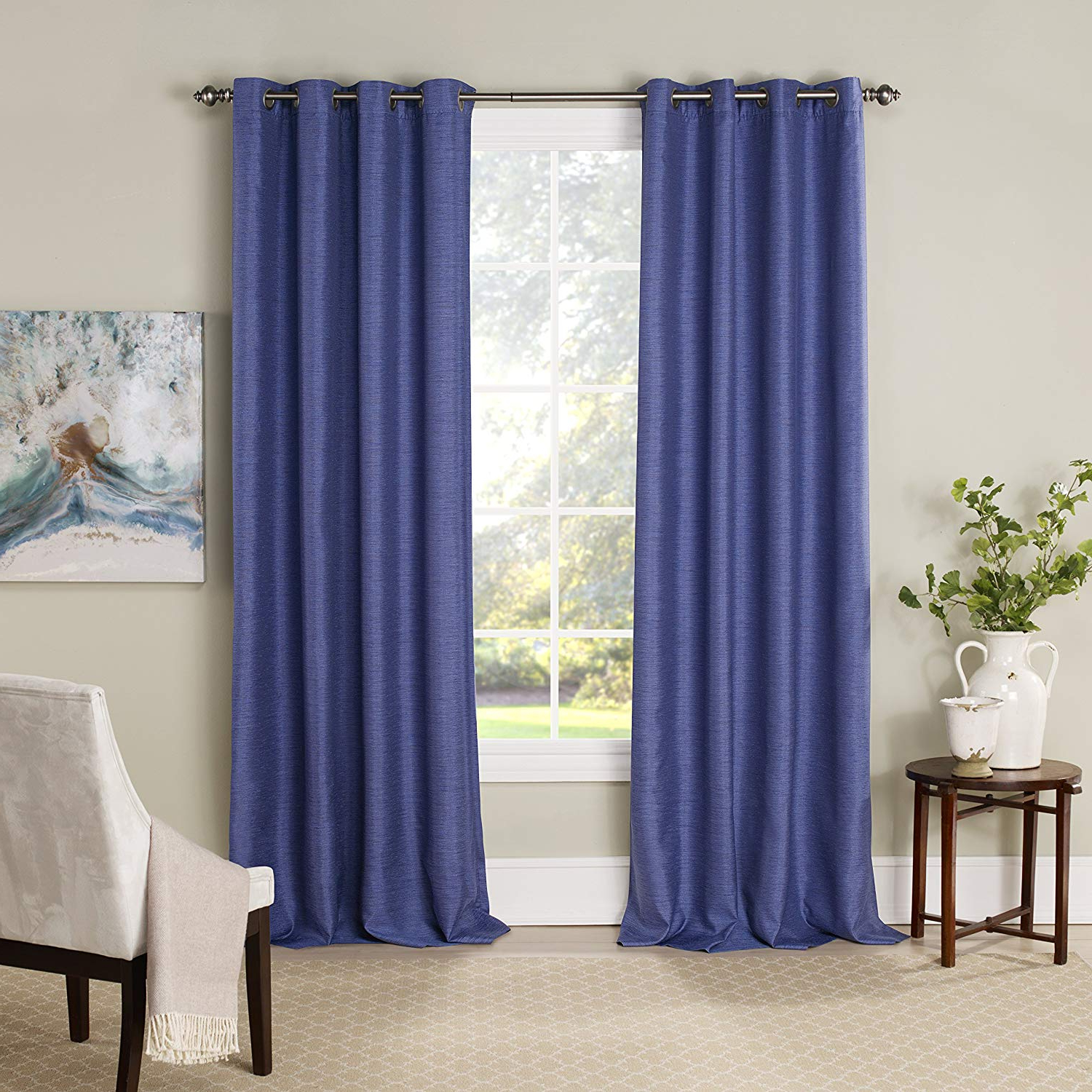 "Eclipse Blackout Curtains For Bedroom – Newportinsulated Darkening Single Panel Grommet Top Window Treatment Living Room, 52"" X 84"", Nightfall With Regard To Preferred Eclipse Newport Blackout Curtain Panels (View 2 of 20)"