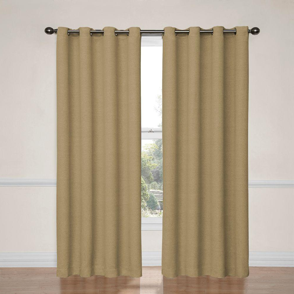 Eclipse Bobbi Blackout Window Curtain Panel In Tan – 52 In. W X 63 In. L Within Newest Eclipse Darrell Thermaweave Blackout Window Curtain Panels (Gallery 19 of 20)