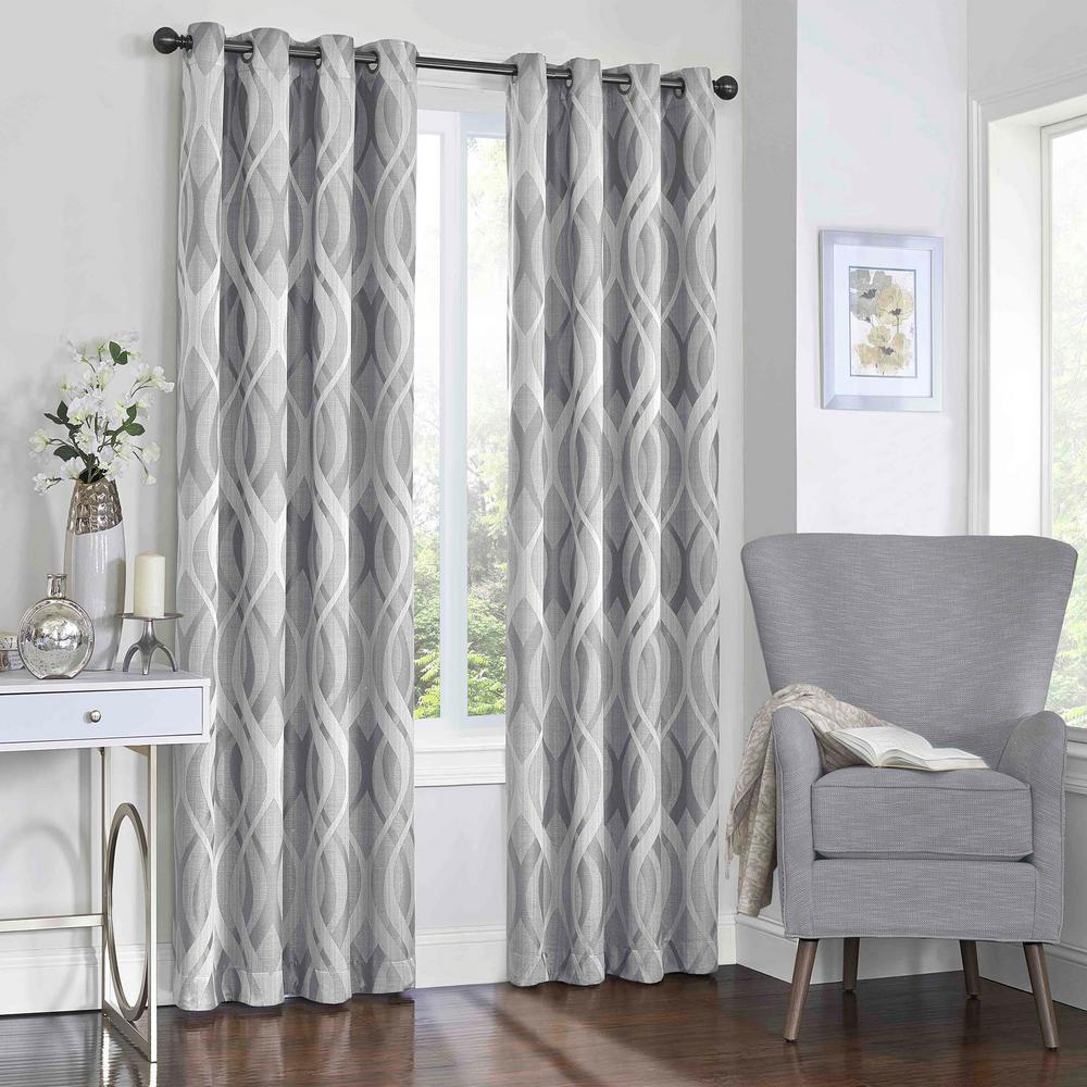 Eclipse Caprese Blackout Window Curtain Panel In Silver – 52 In. W X 108 In (View 4 of 20)