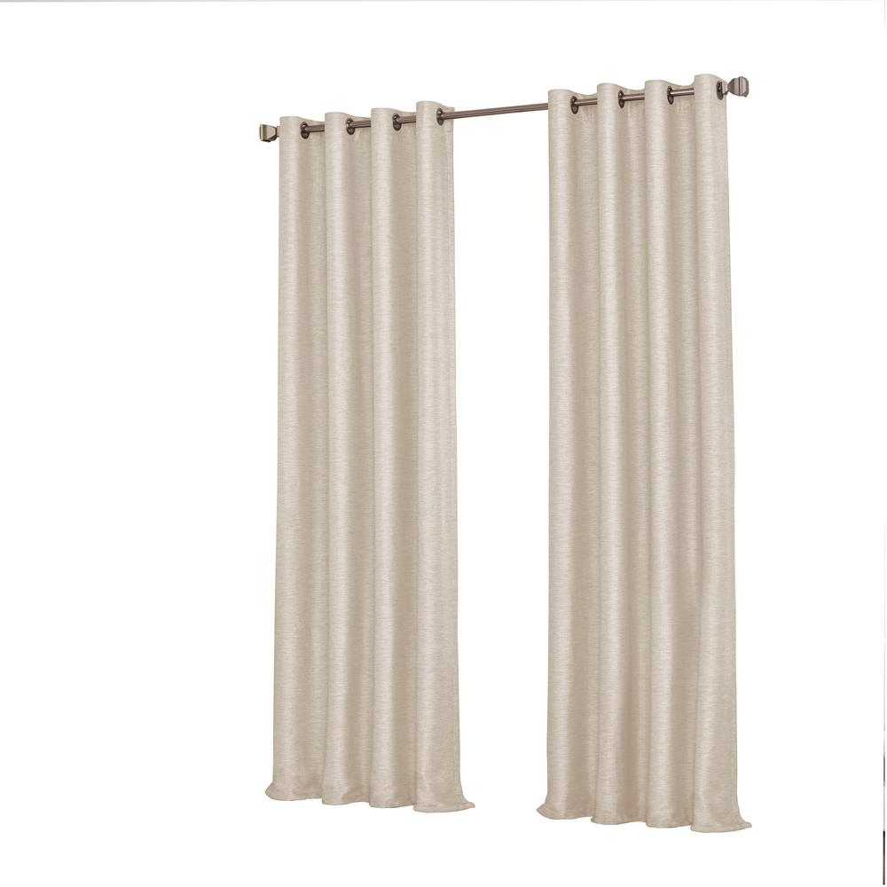 Eclipse Caprese Thermalayer Blackout Window Curtains Intended For Favorite Eclipse Presto Blackout Window Curtain Panel In Ivory – 52 In. W. X 95 In. L (Gallery 18 of 20)