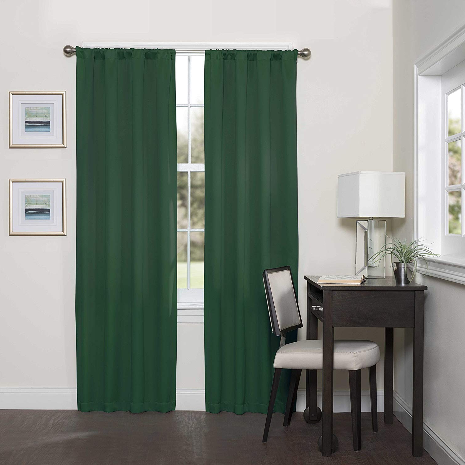 Eclipse Darrell Thermaweave Blackout Window Curtain Panel 37X84 Inches Emerald Pertaining To Most Recent Thermaweave Blackout Curtains (View 5 of 20)
