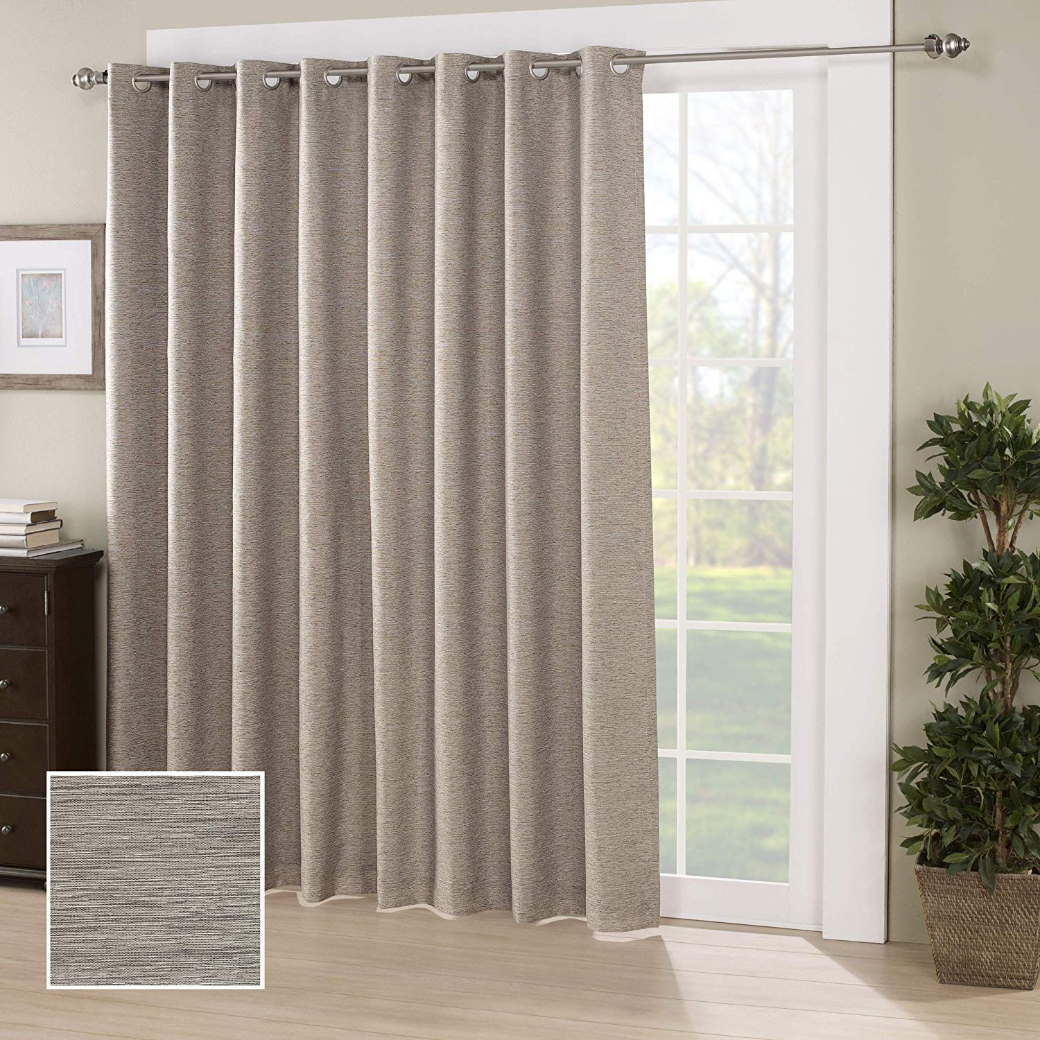 "Eclipse Newport Blackout Curtain Panels Inside Most Up To Date Eclipse Blackout Curtains For Bedroom – Newportinsulated Darkening Single  Panel Grommet Top Window Treatment Living Room, 84"" X 100"", Mushroom (Gallery 9 of 20)"