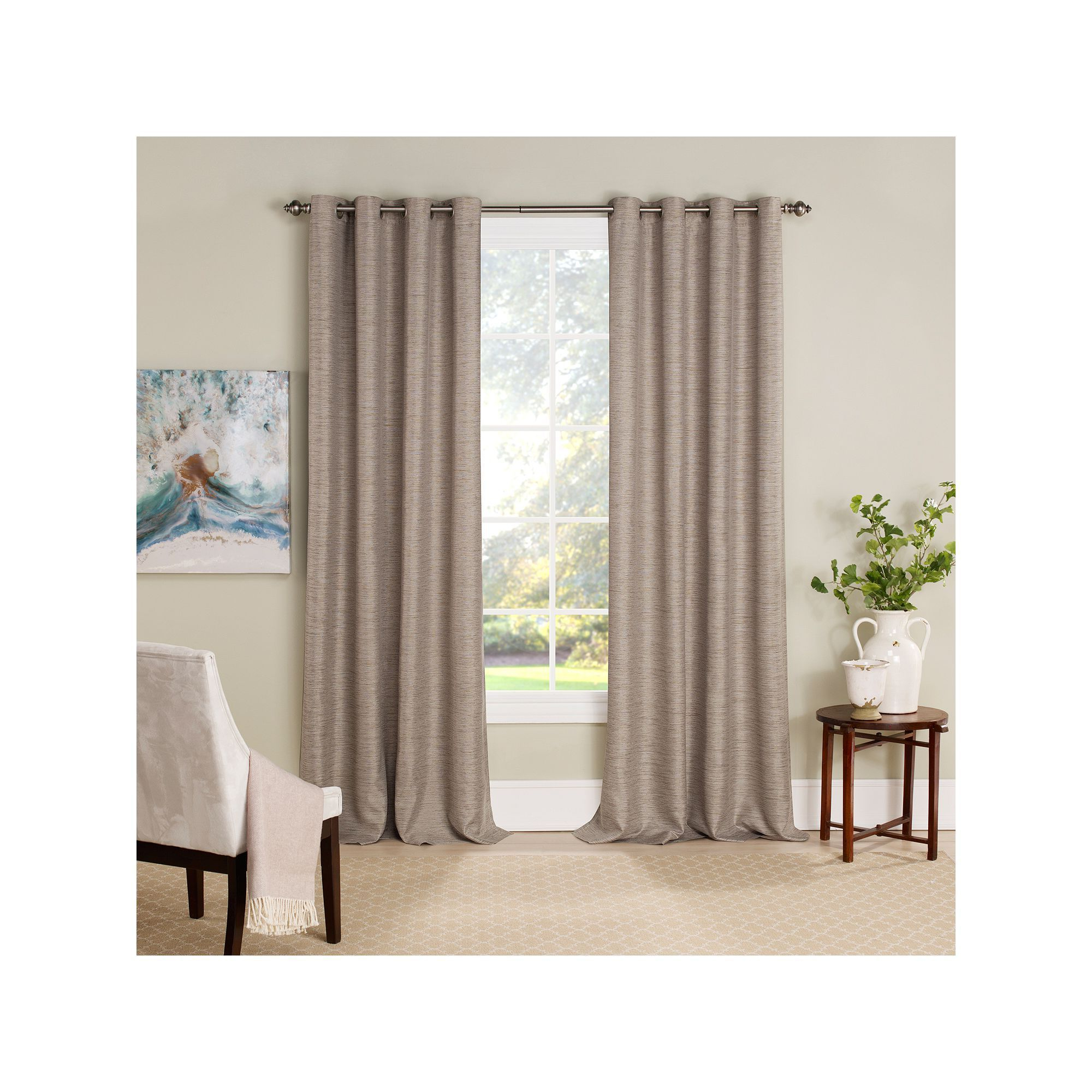 Eclipse Newport Blackout Curtain Panels Regarding 2020 Eclipse Newport Blackout Window Curtain, Dark Beige, 52x (View 8 of 20)