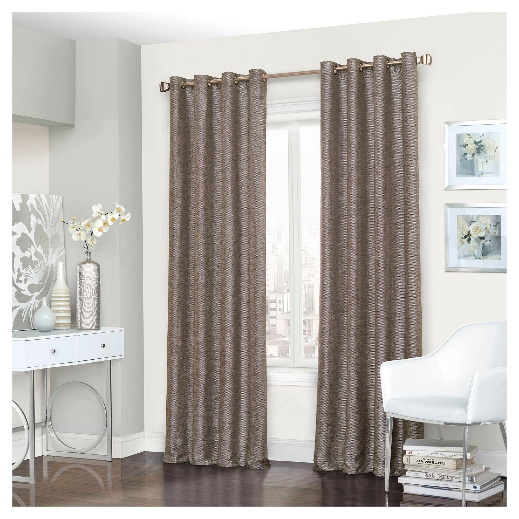 "Eclipse Trevi Blackout Grommet Window Curtain Panels In Well Known Presto Thermalined Curtain Panel Brown (52""x95"") – Eclipse (View 18 of 20)"
