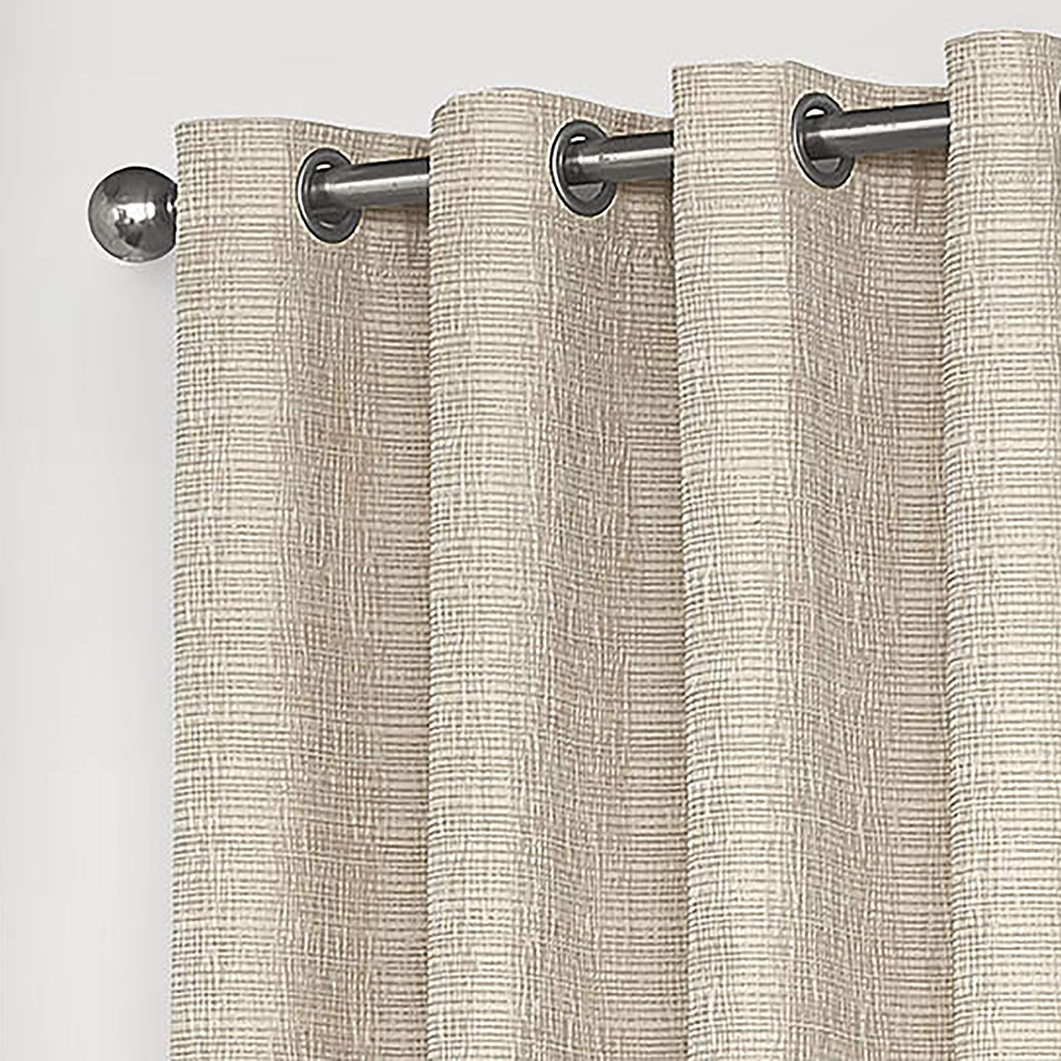 "Eclipse Trevi Classic Grommet Single Window Curtain Panel 52"" X 63"" Natural Throughout Fashionable Eclipse Trevi Blackout Grommet Window Curtain Panels (View 9 of 20)"
