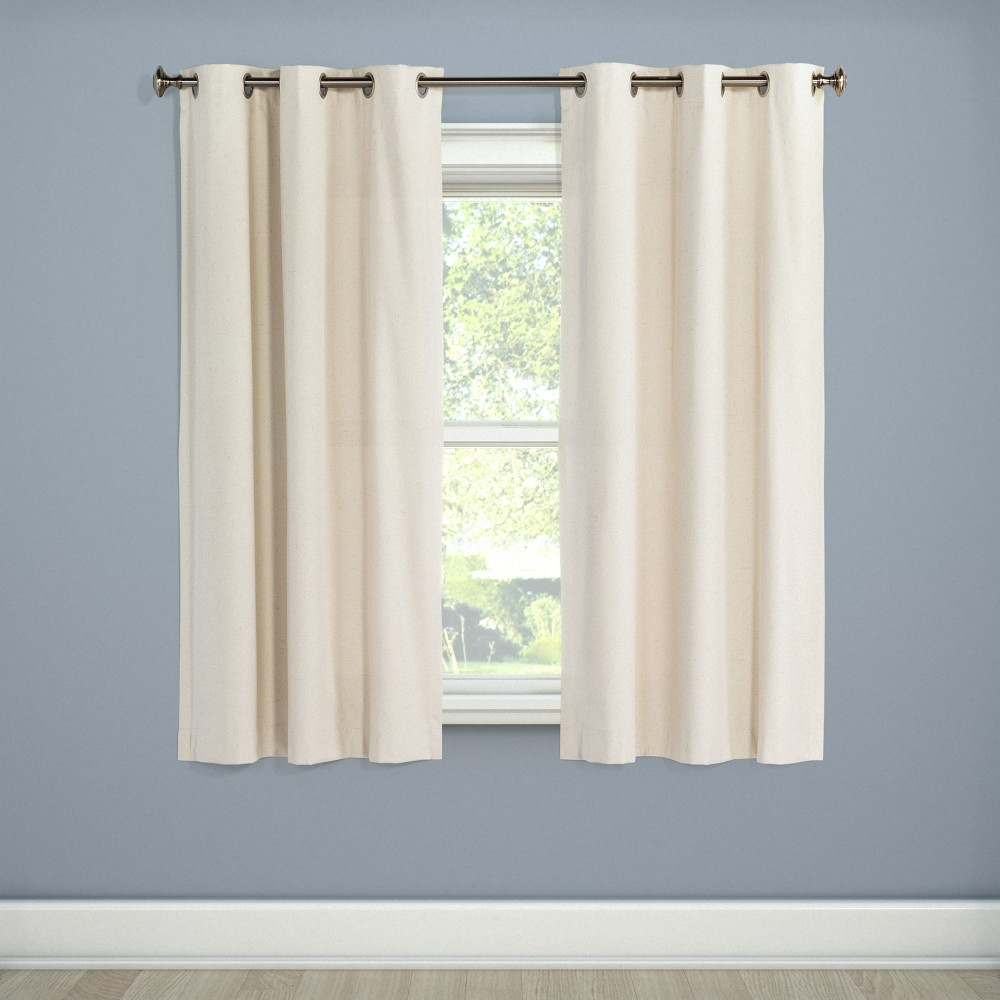 "[%eclipse Windsor Light Blocking Curtain Panel, Cream, 42""x63"" – 100% Polyester In 2020 Eclipse Trevi Blackout Grommet Window Curtain Panels
