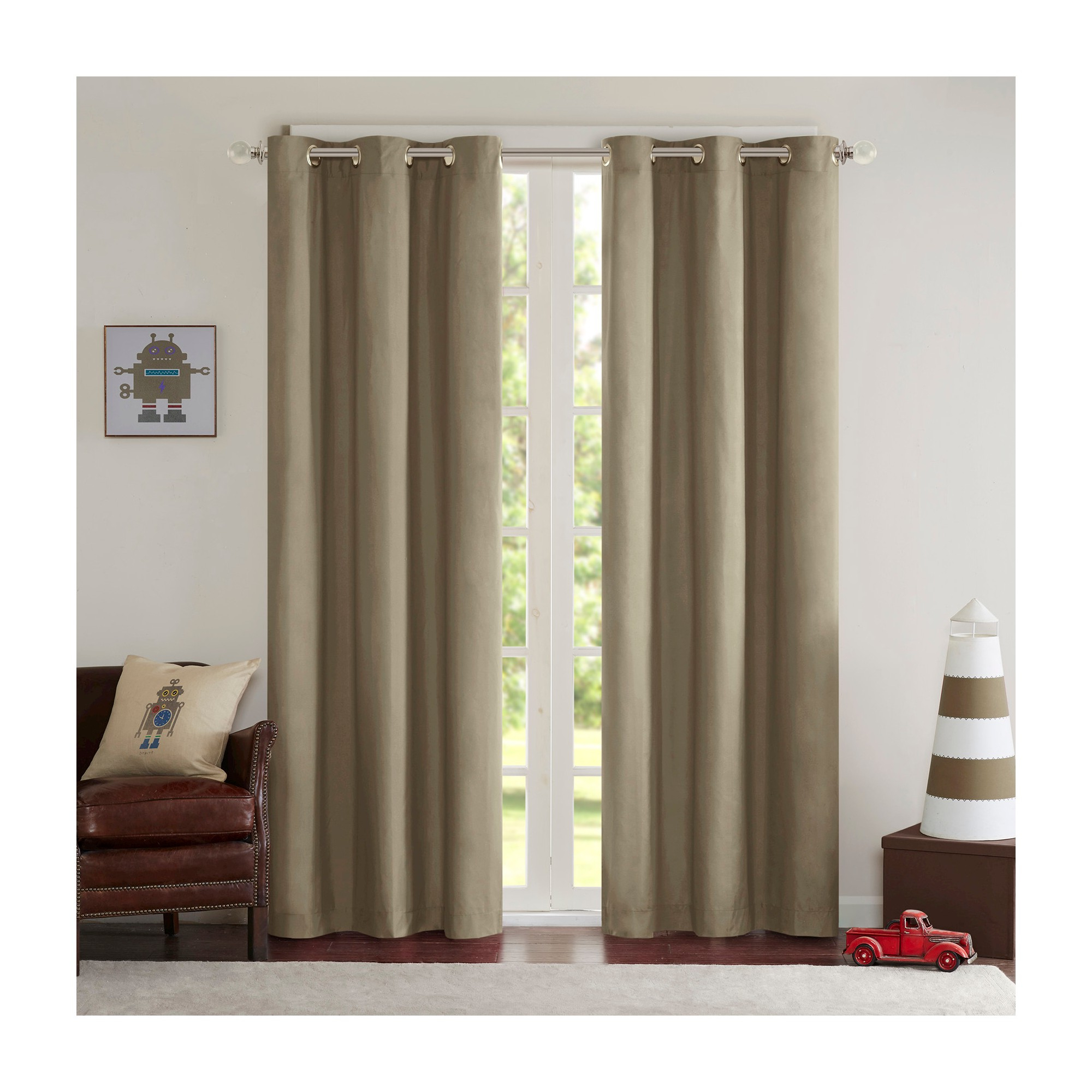 Edson Solid Grommet Top Curtain Panel Pair Khaki (42x63 In Well Liked Solid Grommet Top Curtain Panel Pairs (View 12 of 20)