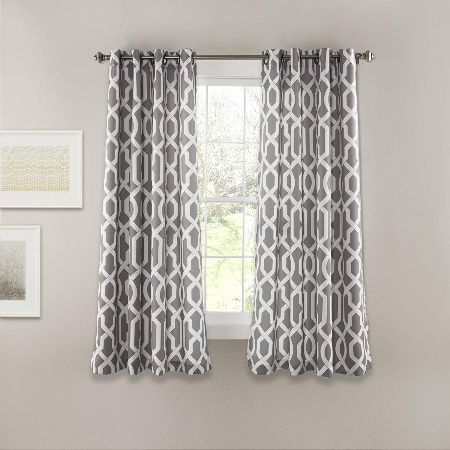 """Edward Moroccan Pattern Room Darkening Curtain Panel Pairs Within Well Liked Lush Decor Edward Trellis Curtains Room Darkening Gray Window Panel Set For Living, Dining, Bedroom (pair), 63"""" L (View 7 of 20)"""